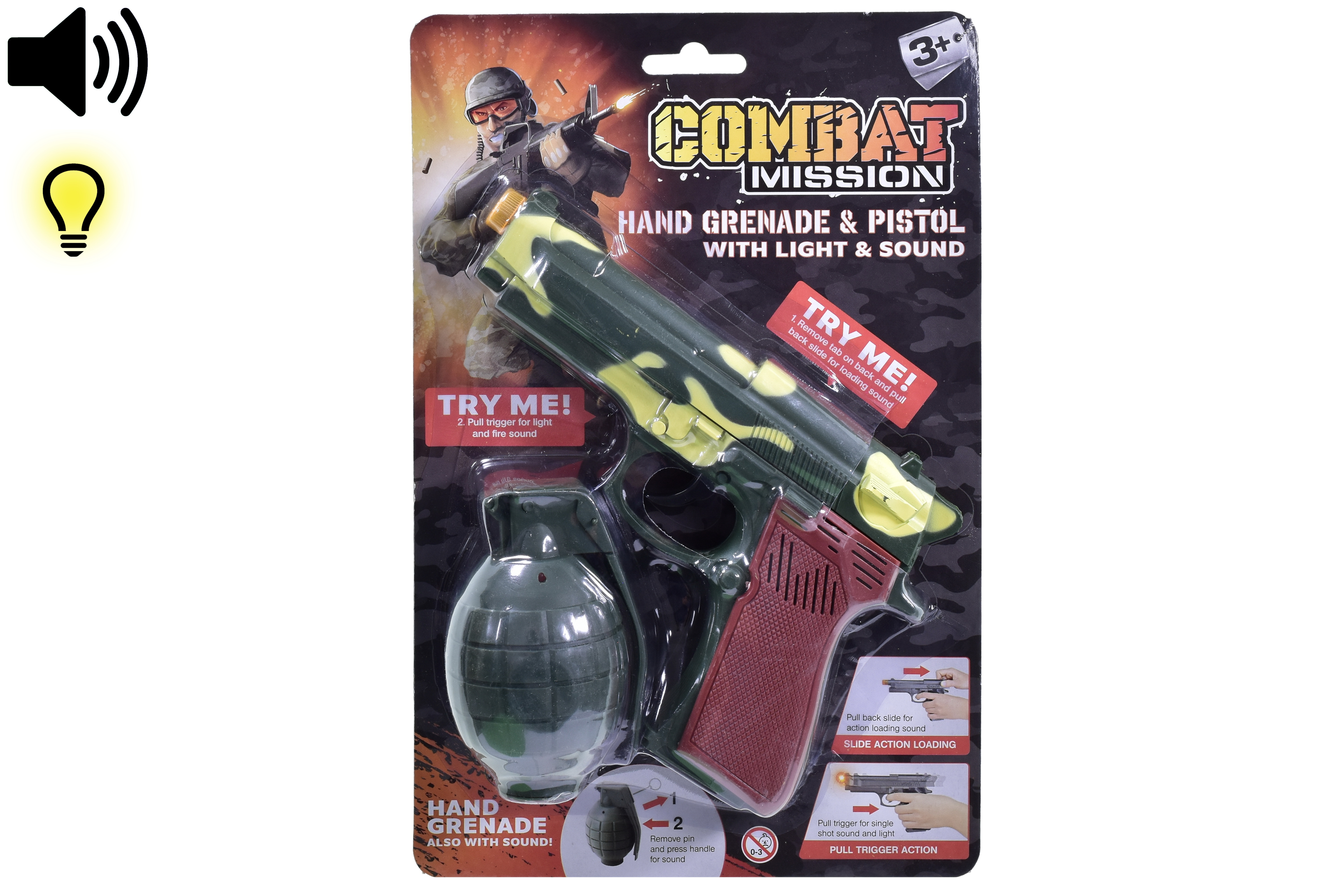 "Handgrenade & Pistol With Sound & Light""Combat Mission"""