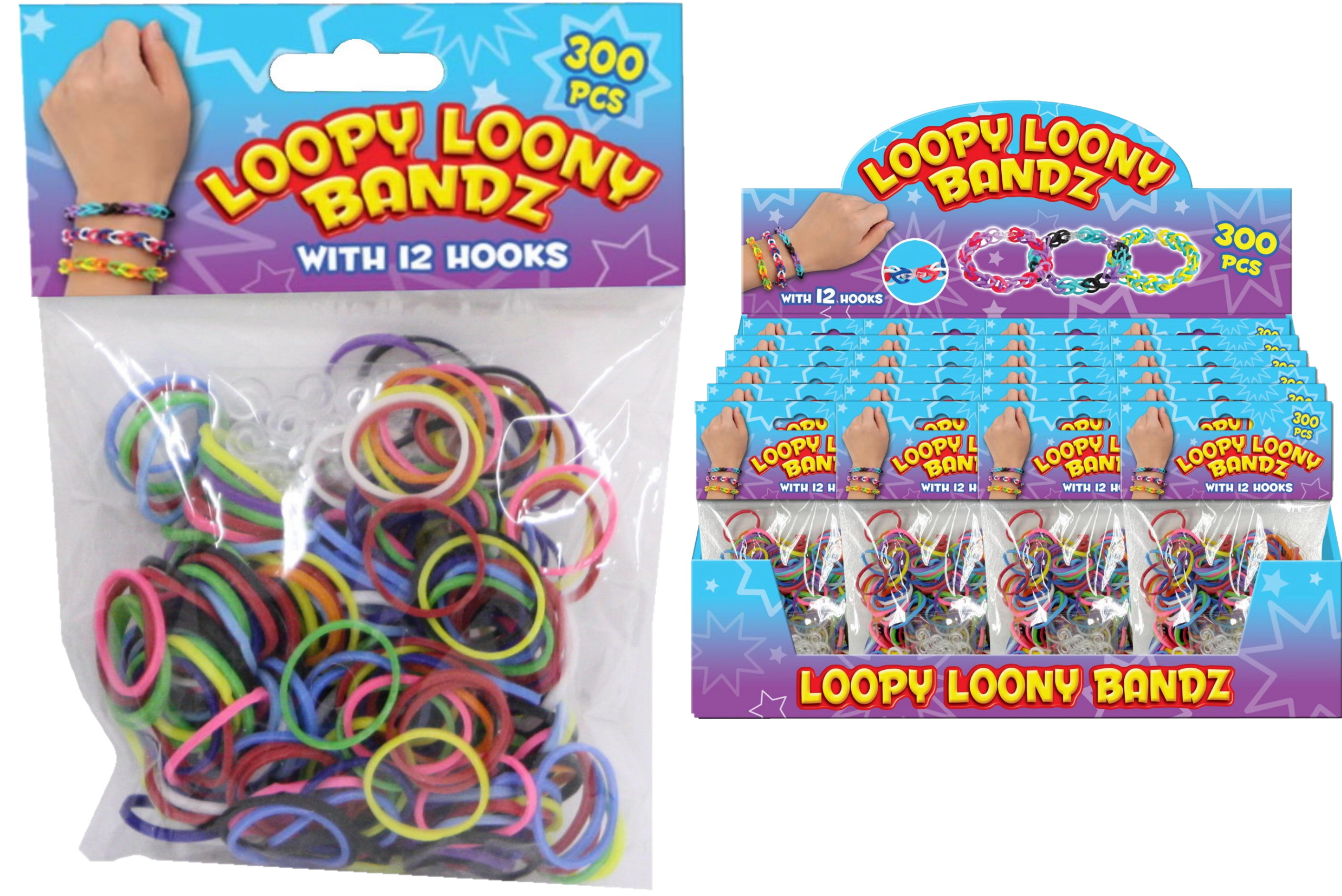 300pc Rubber Loom Bands With 12 Hooks In Display Box