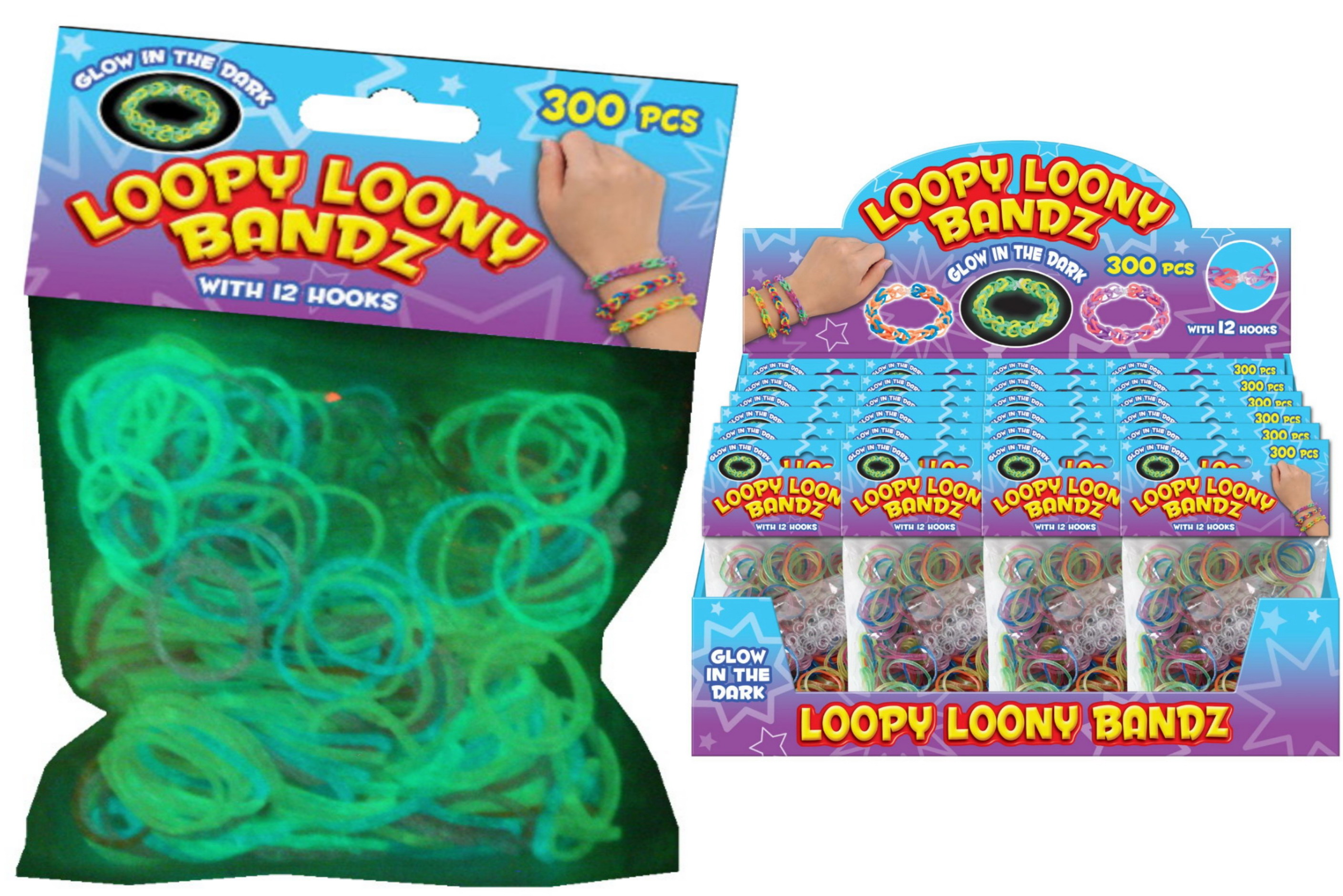 300pc Glow In The Dark Rubber Loom Bands With 12 Hooks