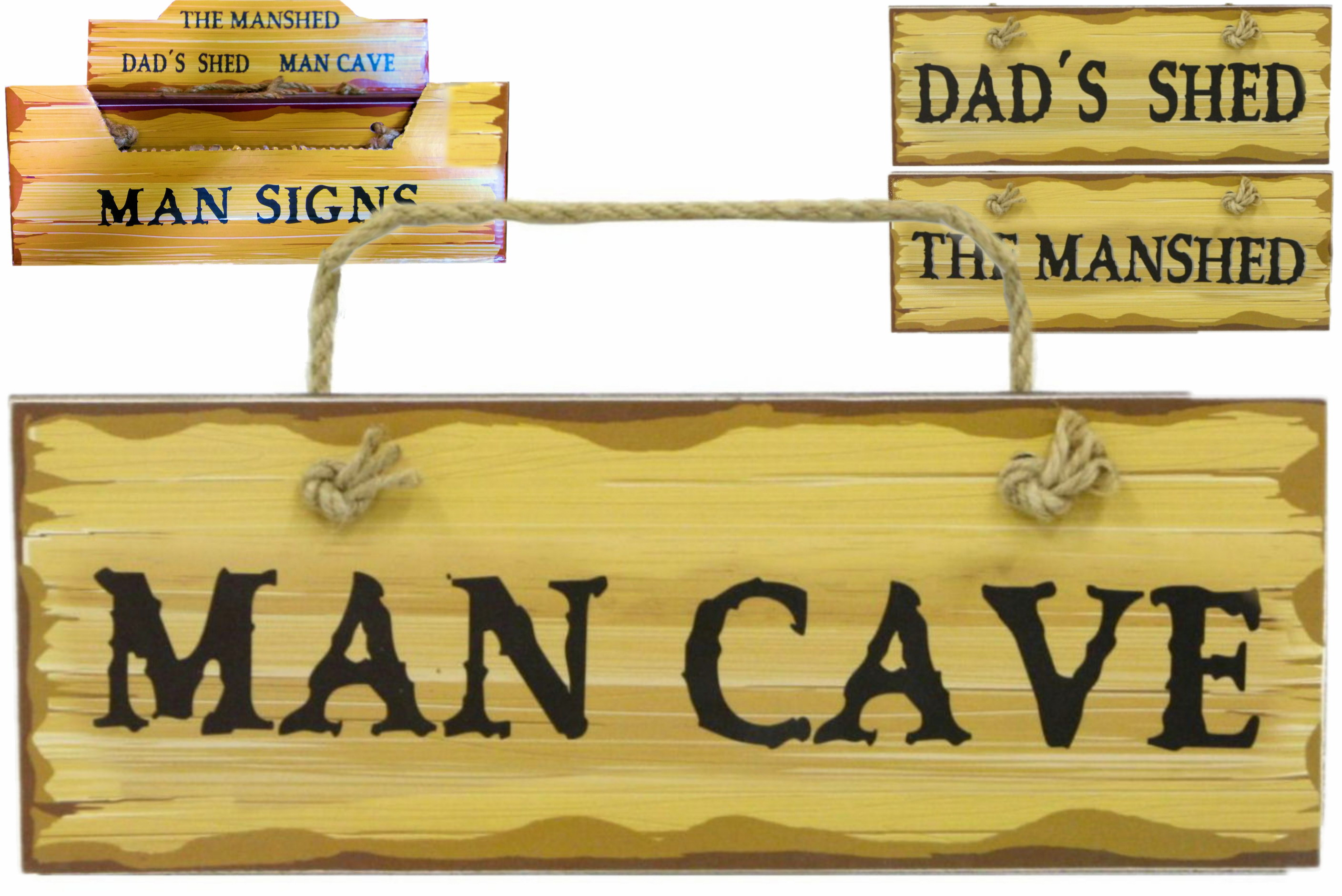 Wooden Man Signs (3 Assorted) In Display Box