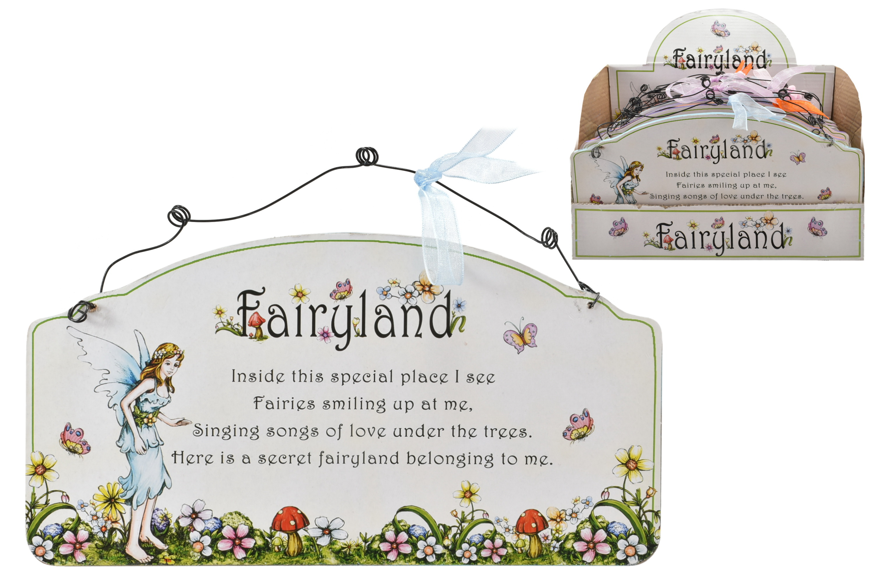 Fairyland Wooden Hanging Wall Plaque - 4 Assorted