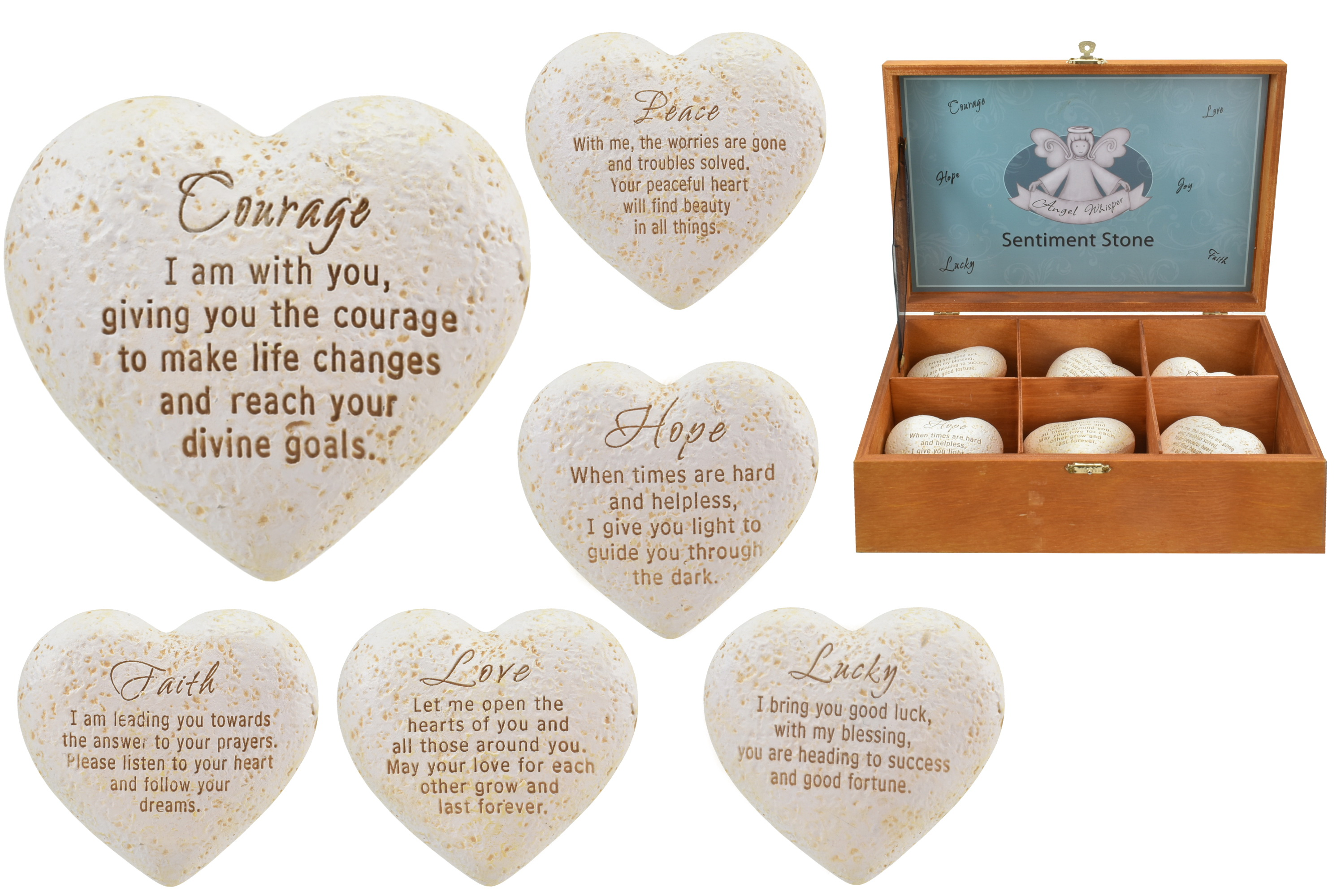 Polyresin Inspirational Sentiment Heart Shape Stone 6as