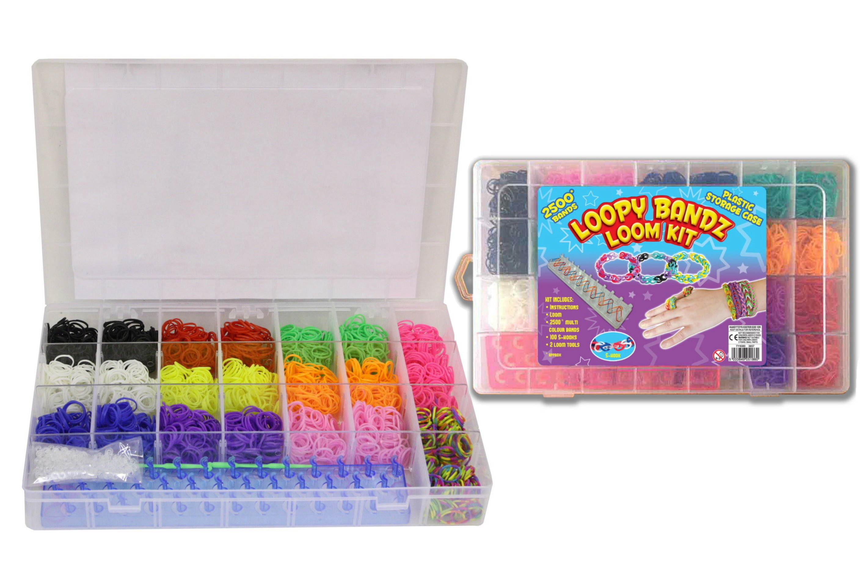 Loom Band Kit In Plastic Case With 2500pc Bands