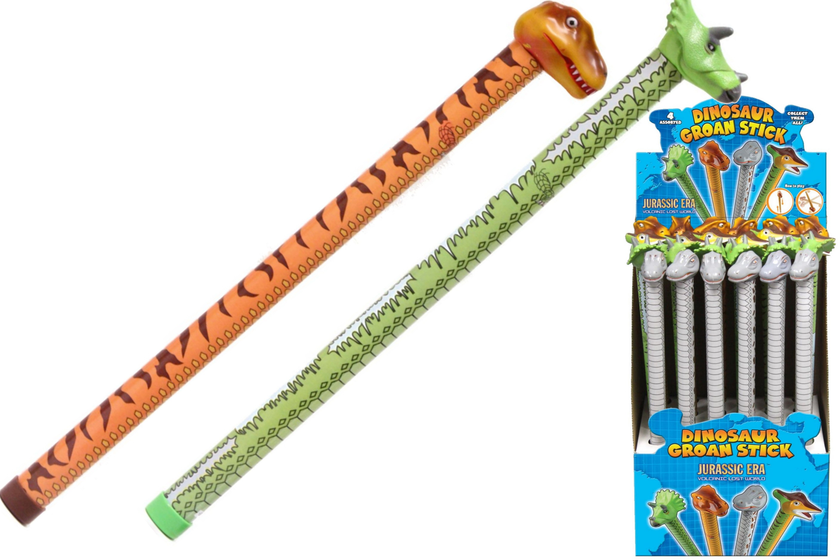 Dinosaur Groan Stick (4 Assorted) In Display Box