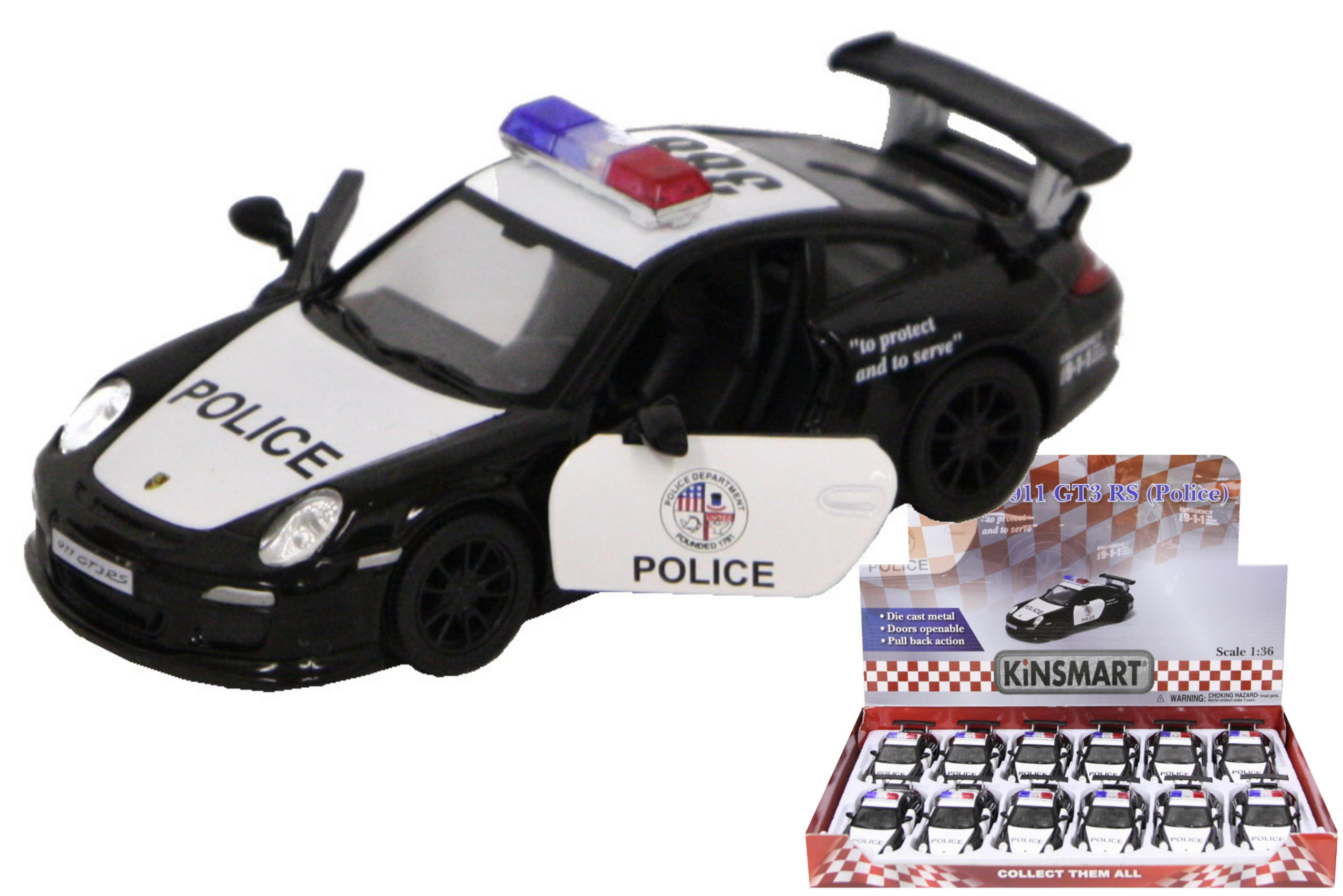 1:36sc D/C Porsche 911 Gt3 Rs Police Car In Display Box