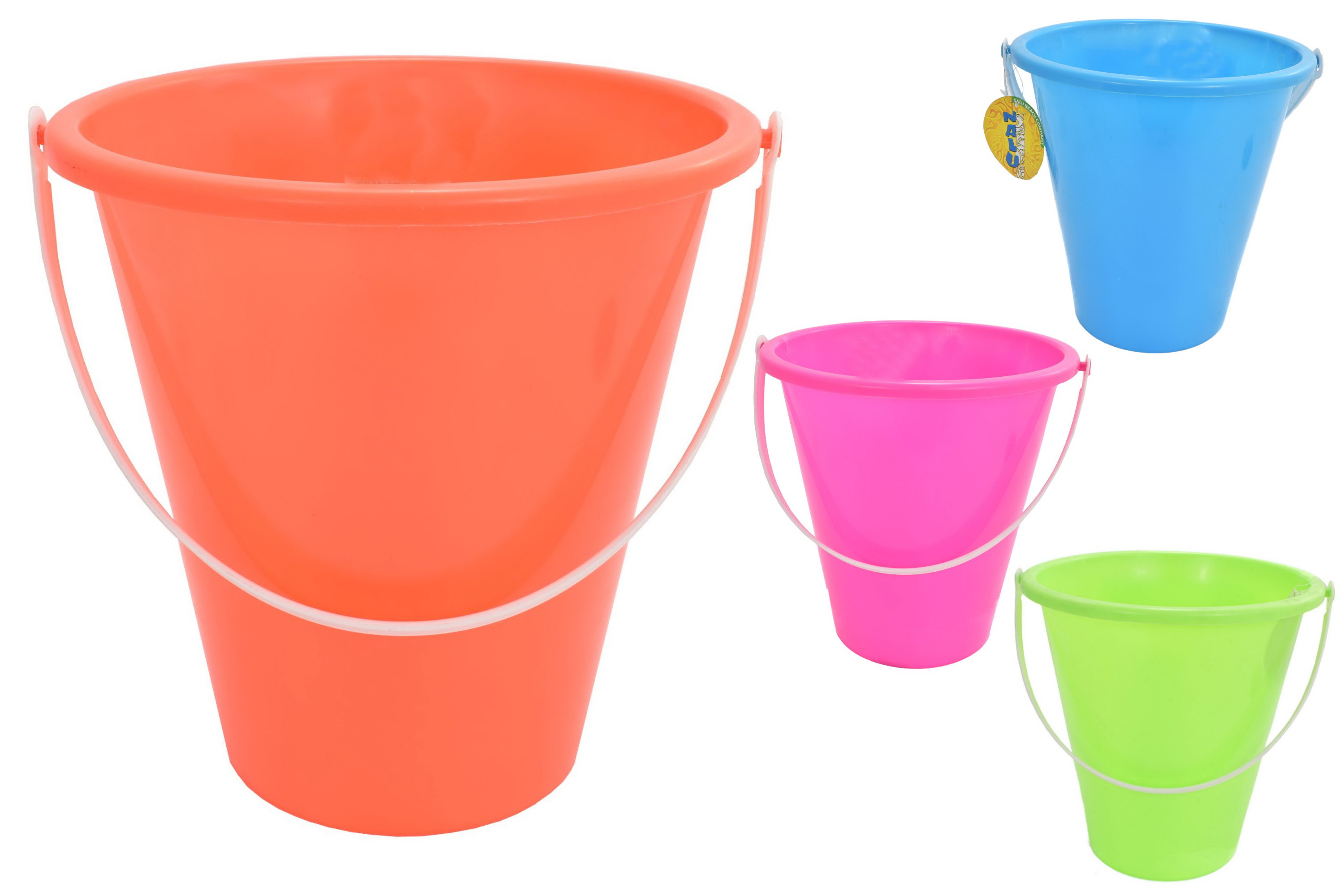"22.5cm/9"" Round Neon Colour Bucket - Assorted Colours"