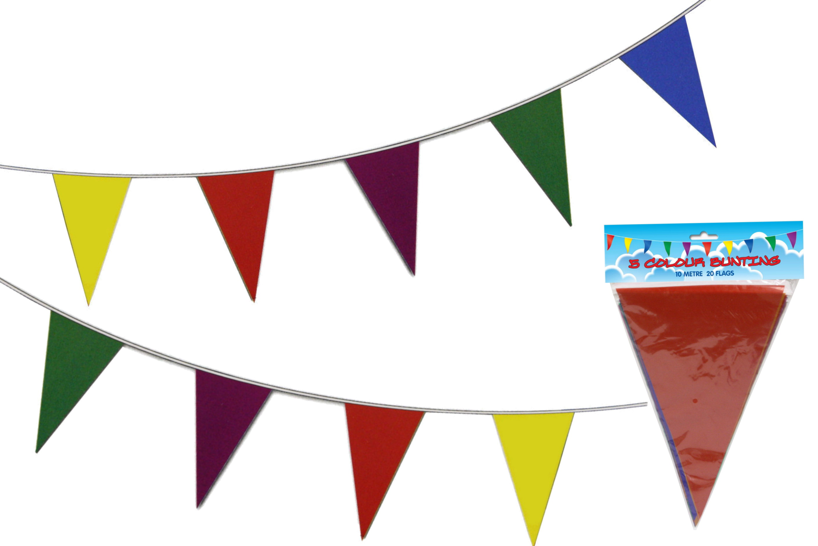 Triangular Bunting 10m 20 Flags 5 Colours