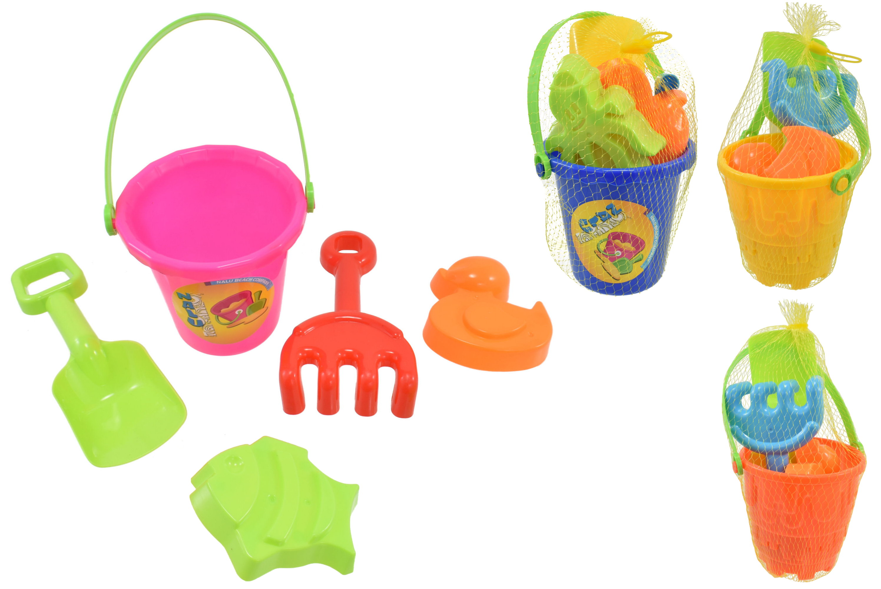 """5pc Small Bucket Sets - 4 Assorted Cols - """"Nalu""""-Netted"""