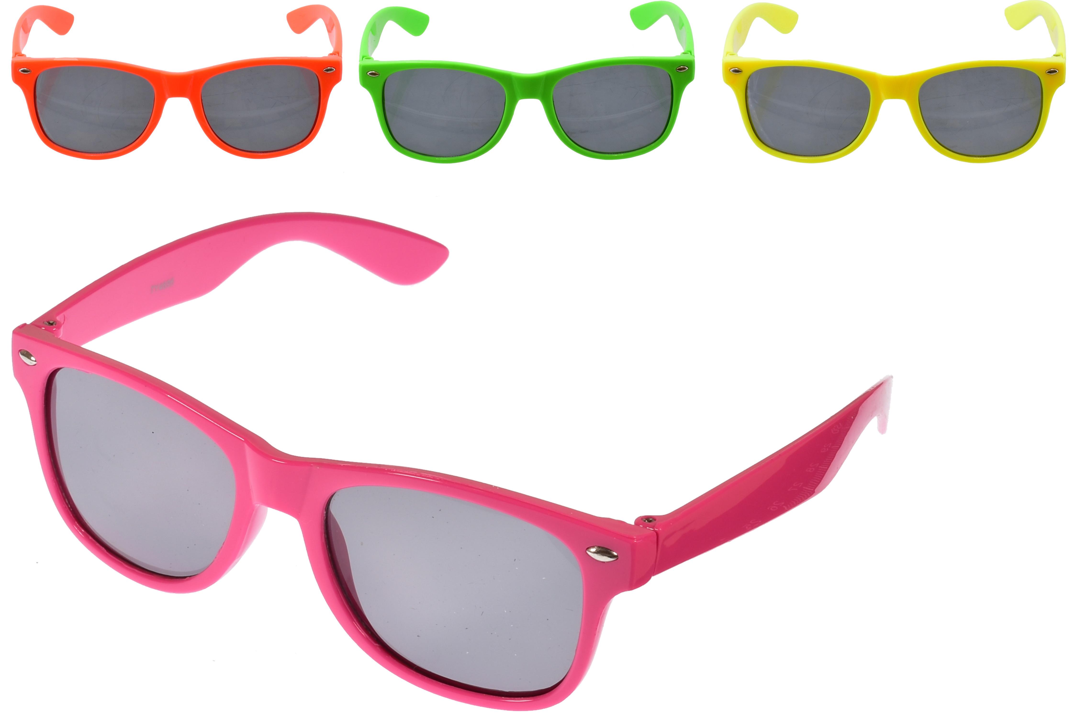 Kids Plastic Neon Frame Larger Lense S/Glass - 4 Asst