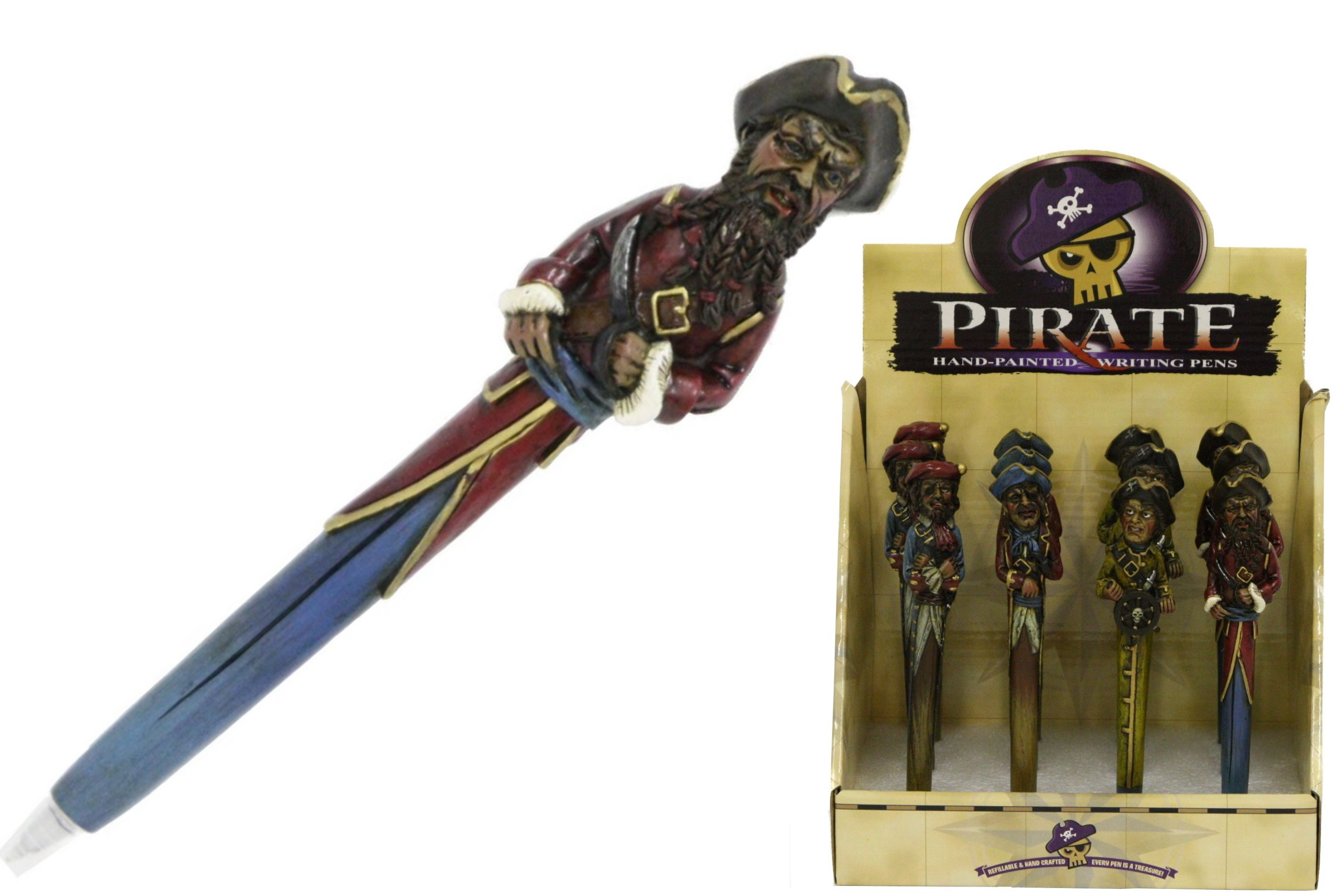 Pirate Polyresin Pen (4 Assorted) In Display Box