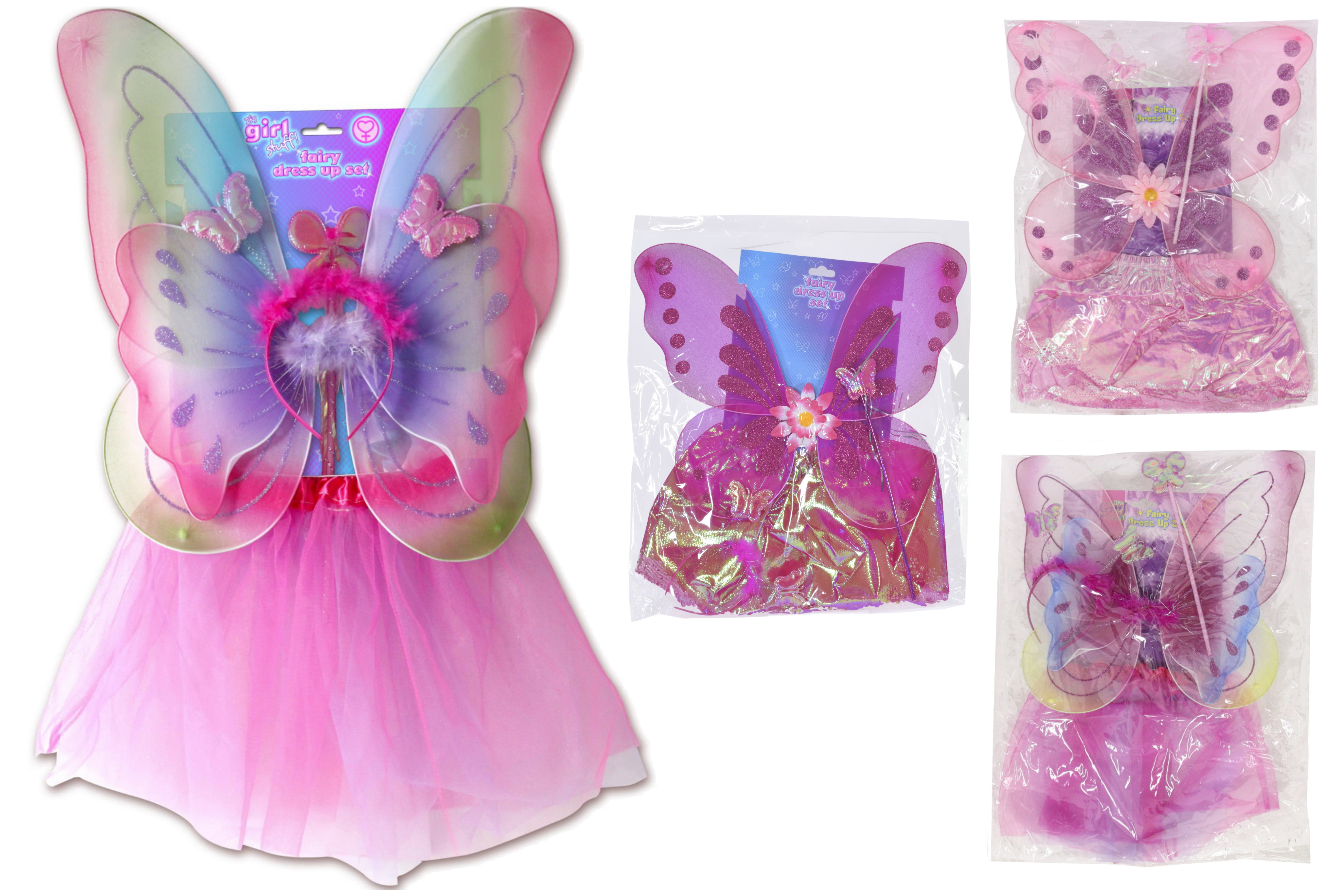"4pc Childs Fairy Dress Up Set - 4 Asst ""Its Girl Stuff"""