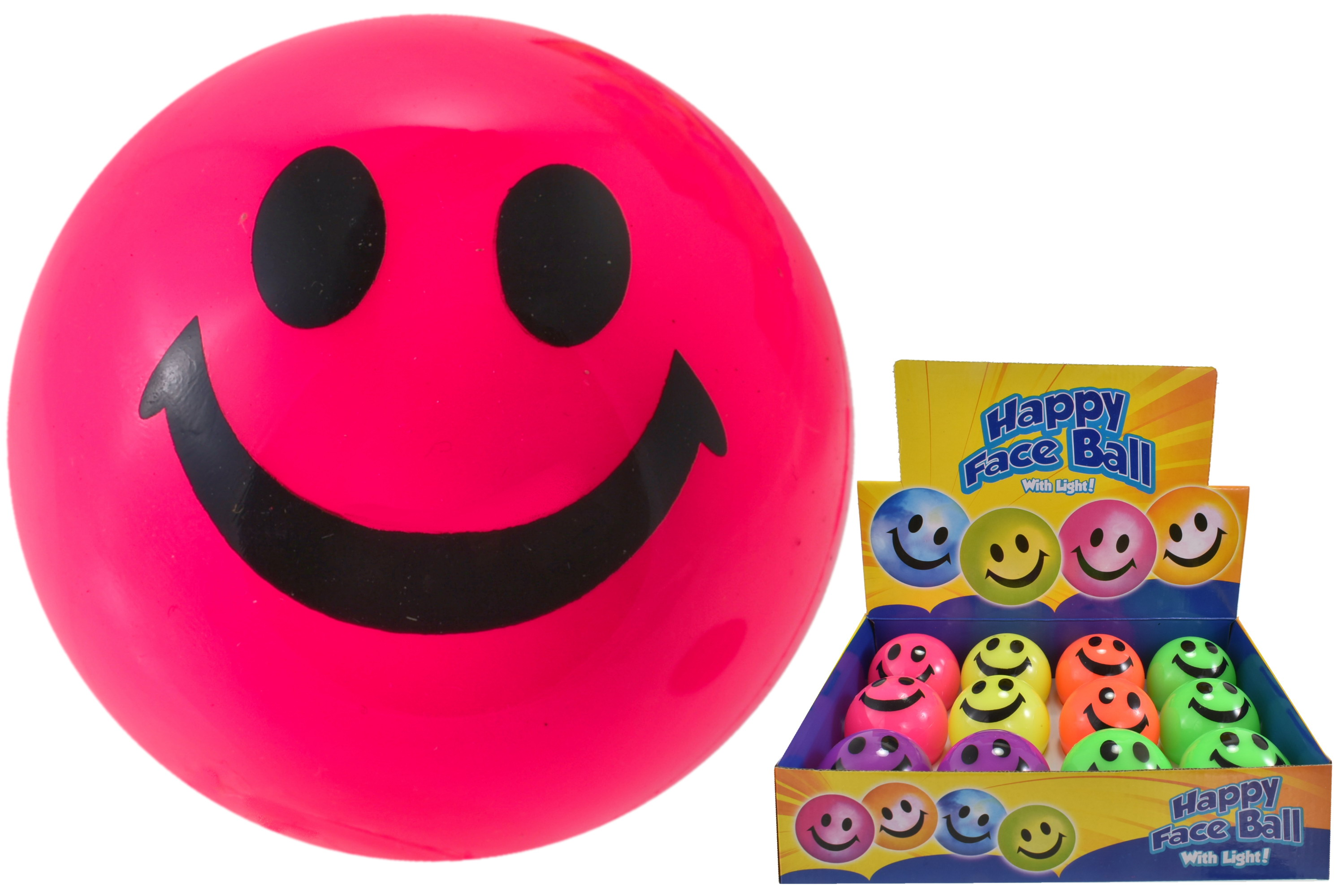 65mm Neon Colour Light Up Happy Face Balls In D/Box