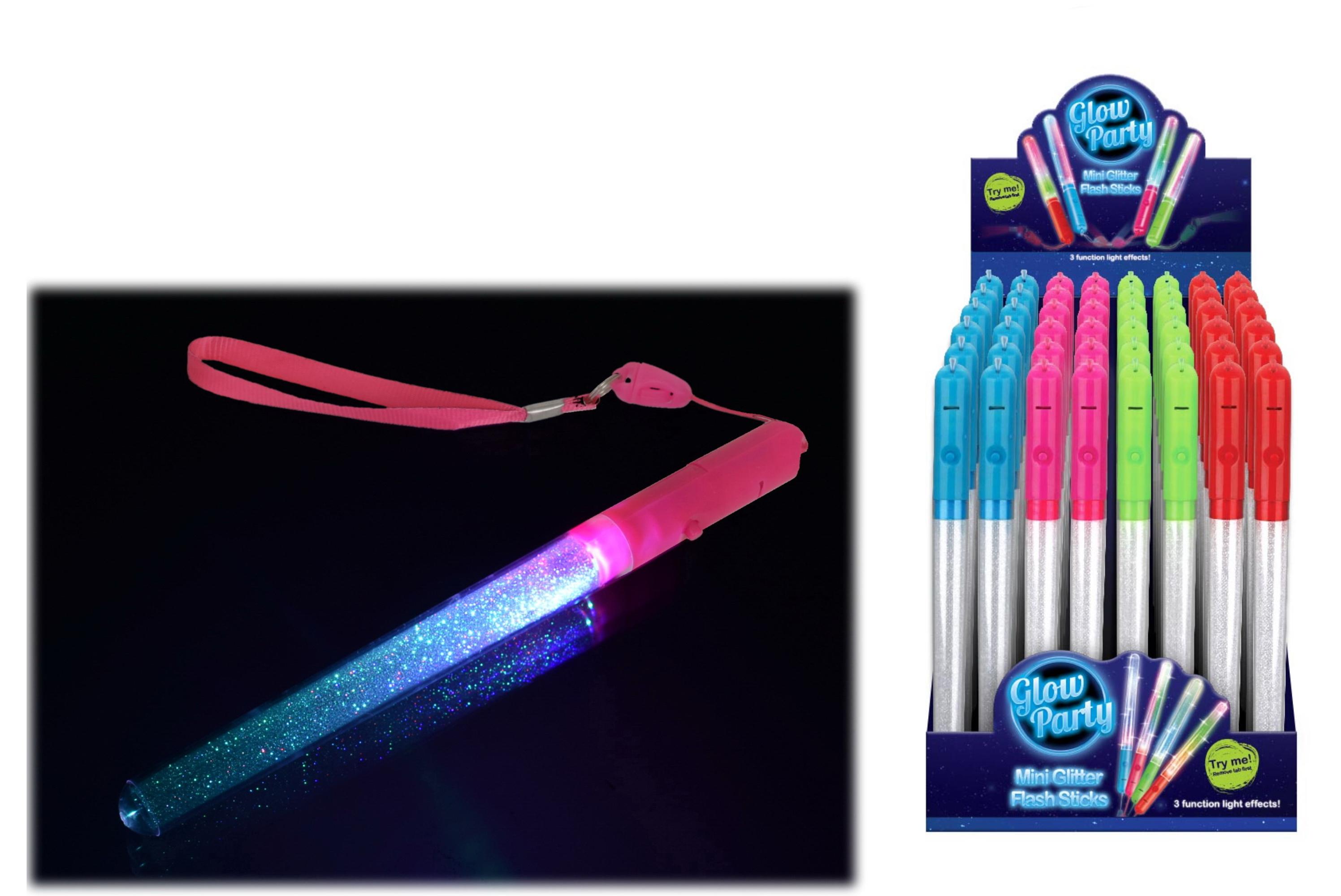 Mini Glitter Flash Sticks (4 Colours) In Display Box