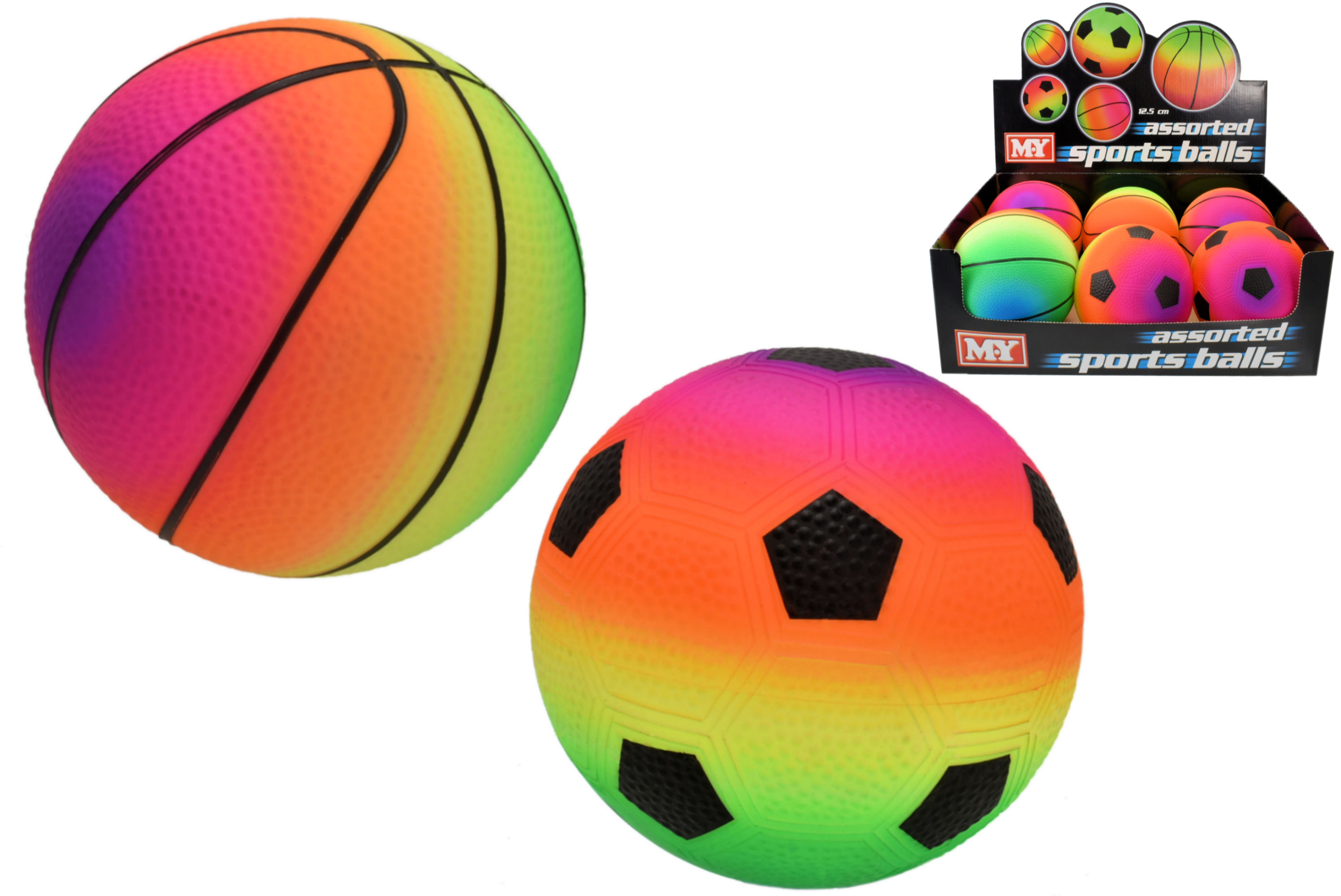 "5"" Pvc Fluorescent Inflated Sports Ball (2 Asst) Dbx"