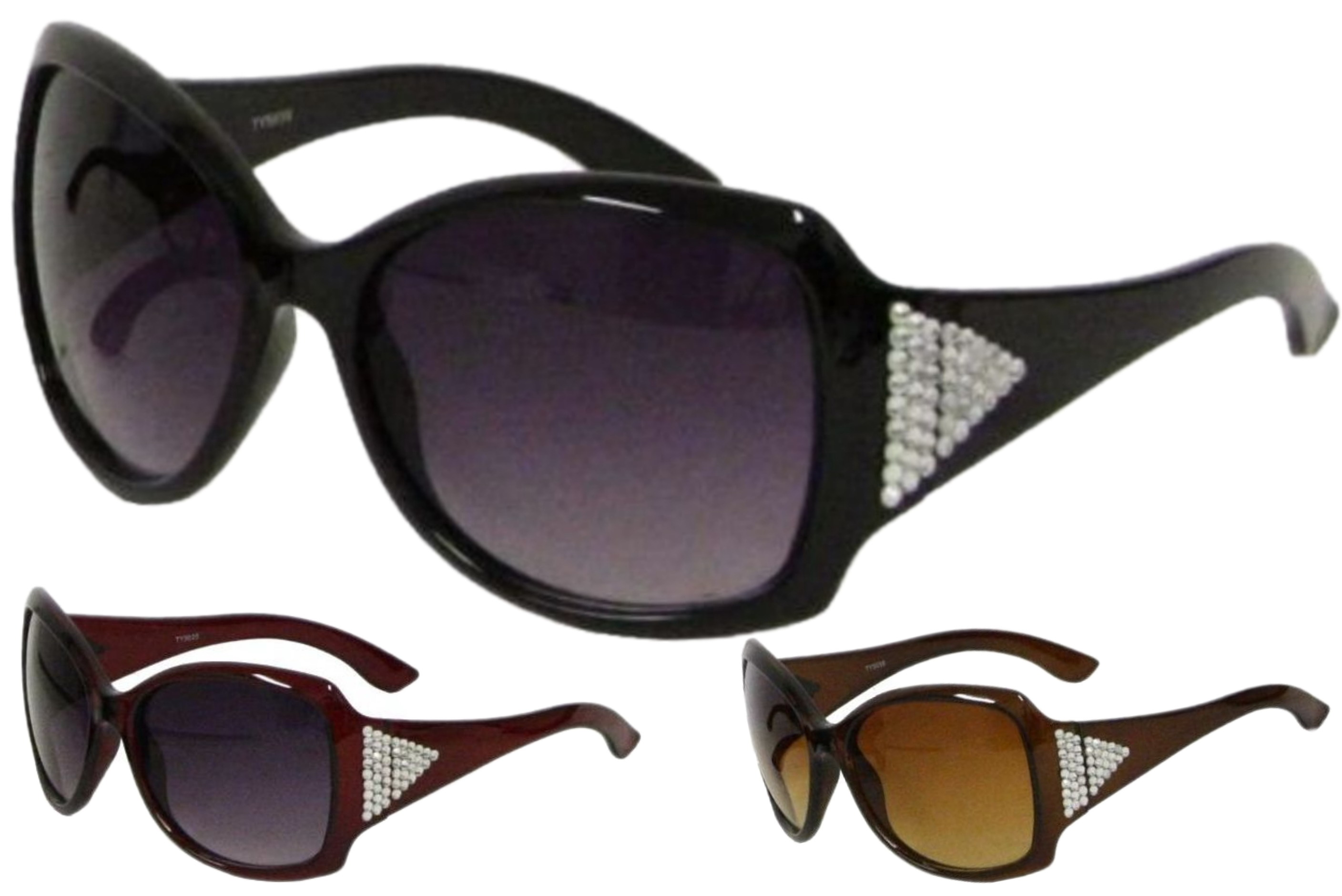 Ladies Plastic Large Lens Sunglasses With Gems - 3 Asst