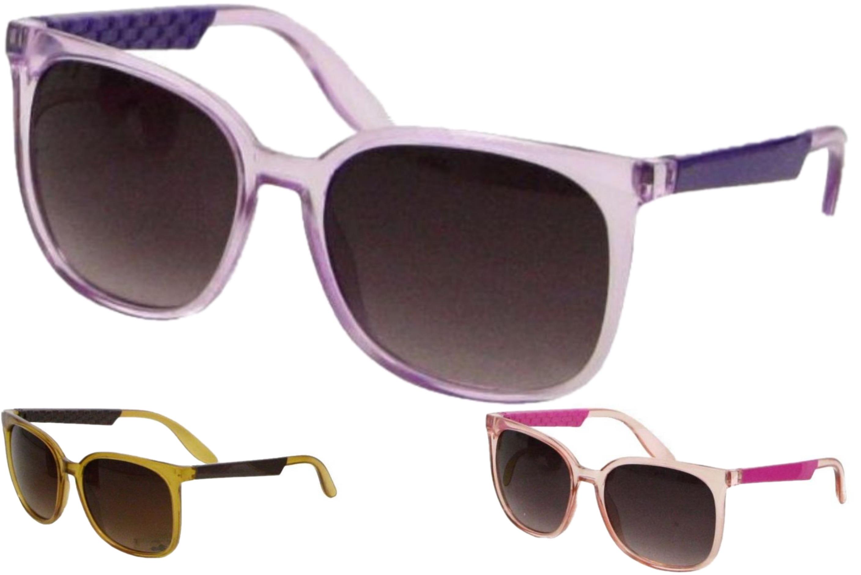 Ladies Larger Lens Plastic Frame Sunglasses - 3 Asst
