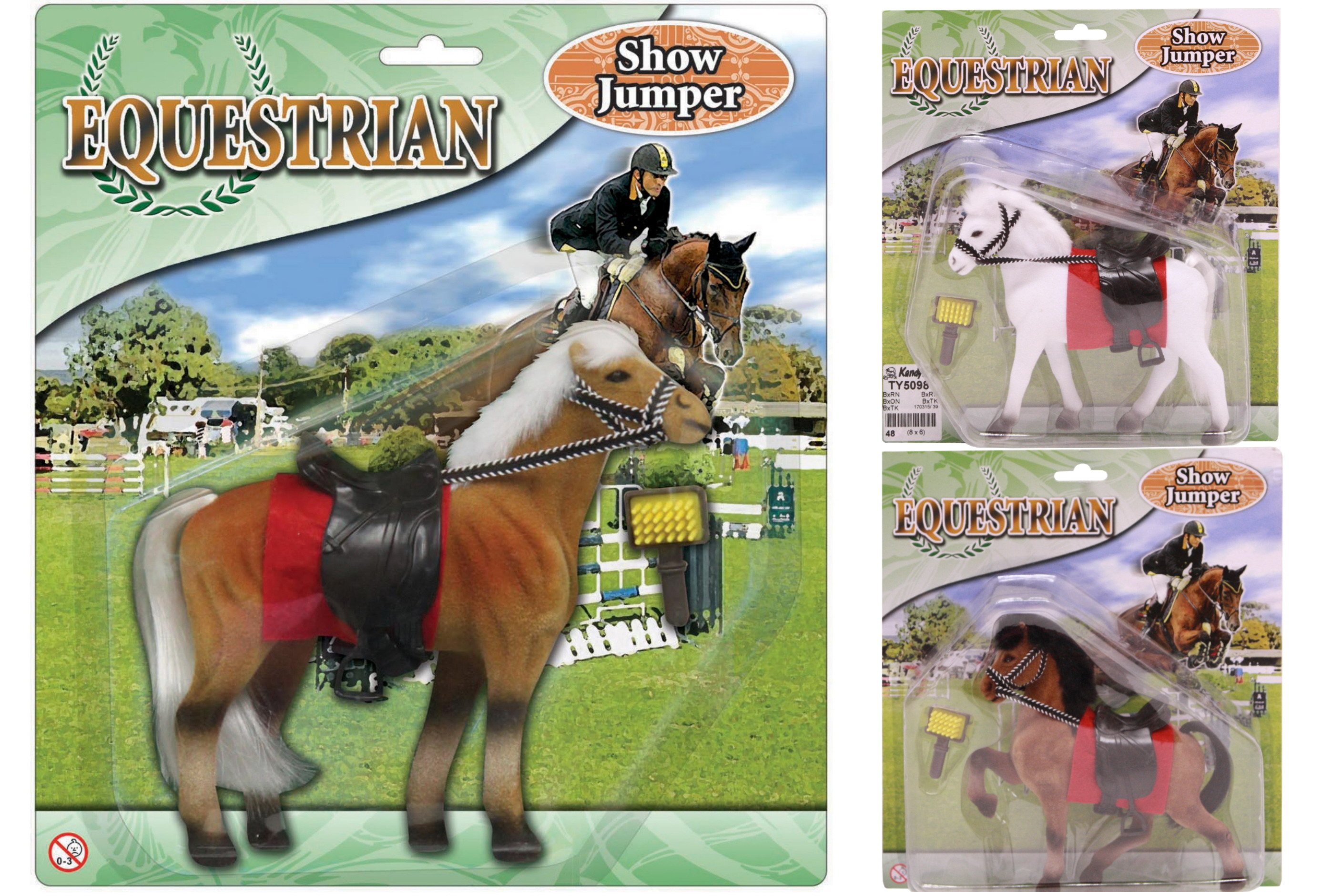 """Flocked Horse (3 Assorted Colours) """"Equestrian"""""""