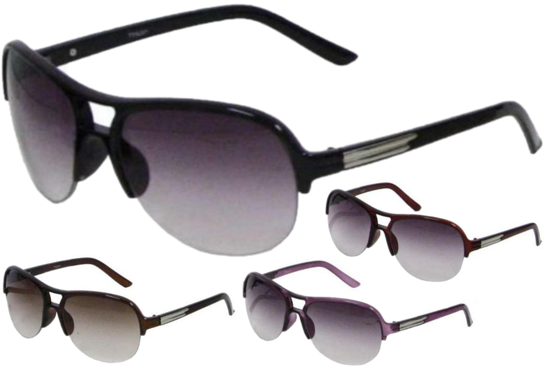 Ladies Plastic 1/2 Frame Sunglasses - 4 Assorted