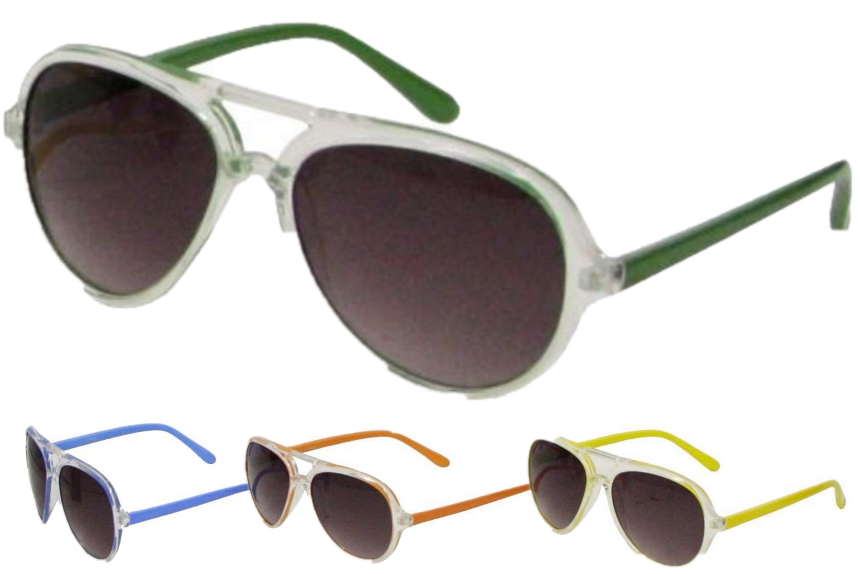 Ladies Neon Plastic Frame Sunglasses - 4 Assorted