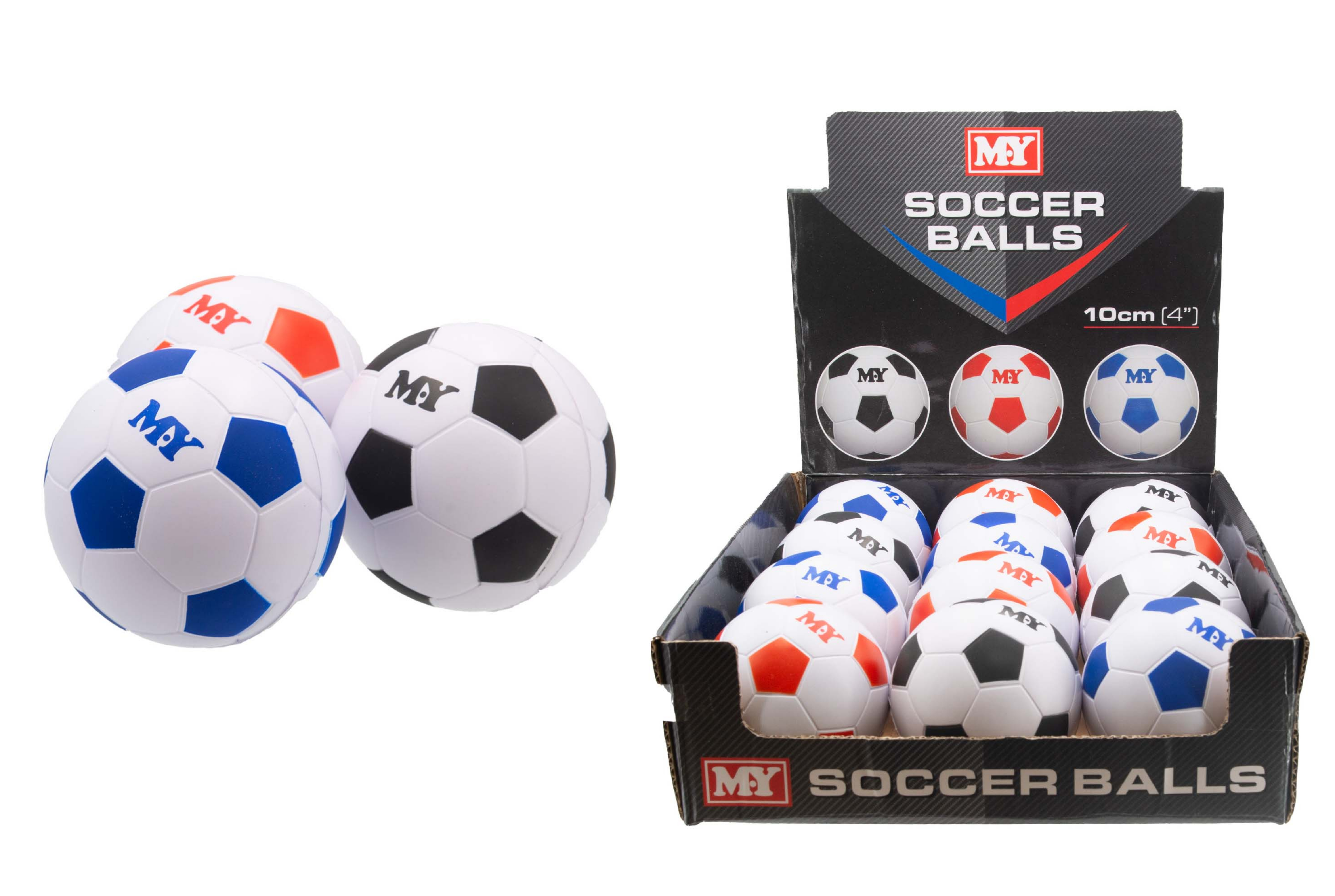 "4"" Pu Footballs In Display Box - ""M.Y"""