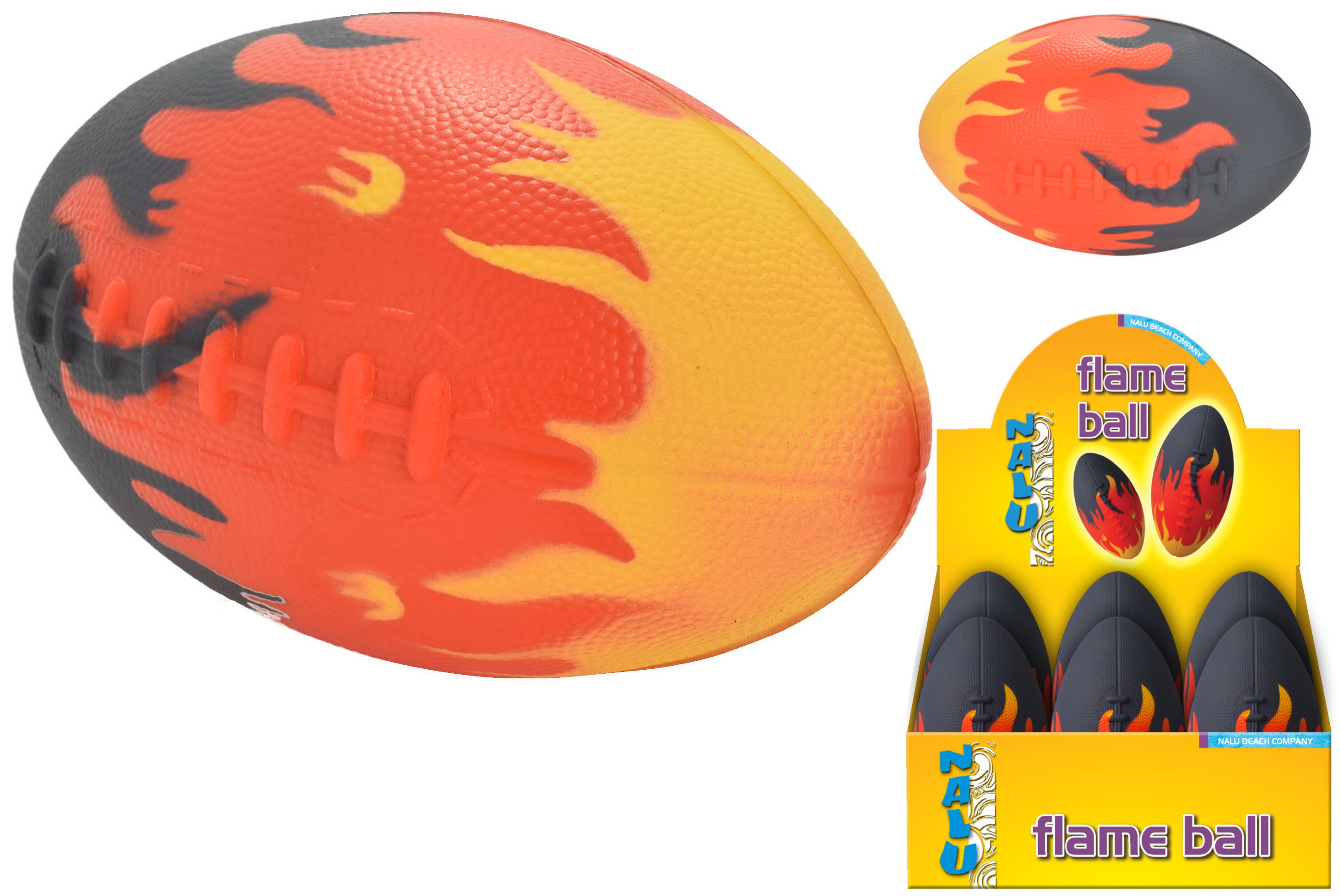"8"" Pu Flame Rugby Ball In Display Box - ""Nalu"""
