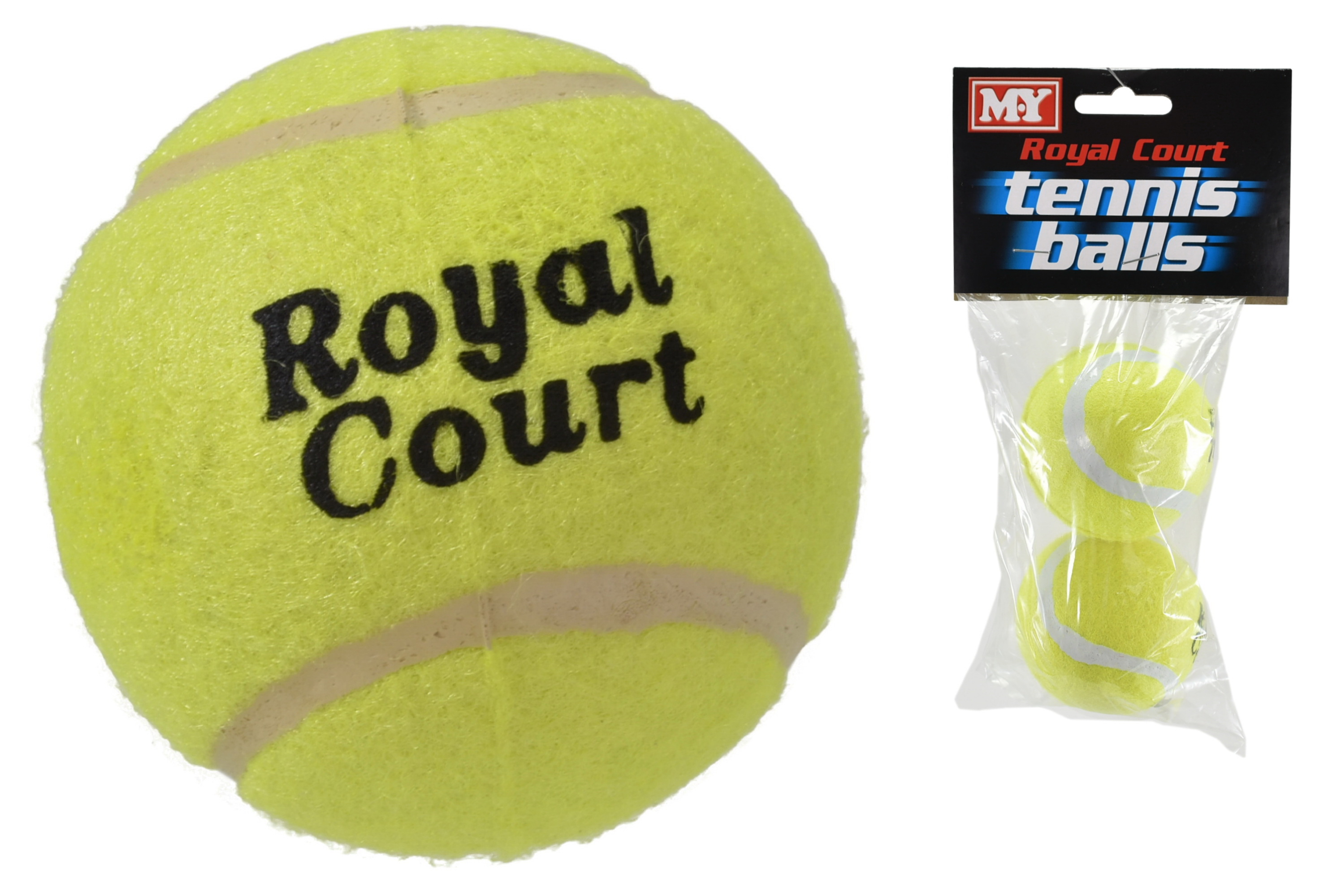 "Royal Court 2 Pack Tennis Balls In Polybag Header ""M.Y"""