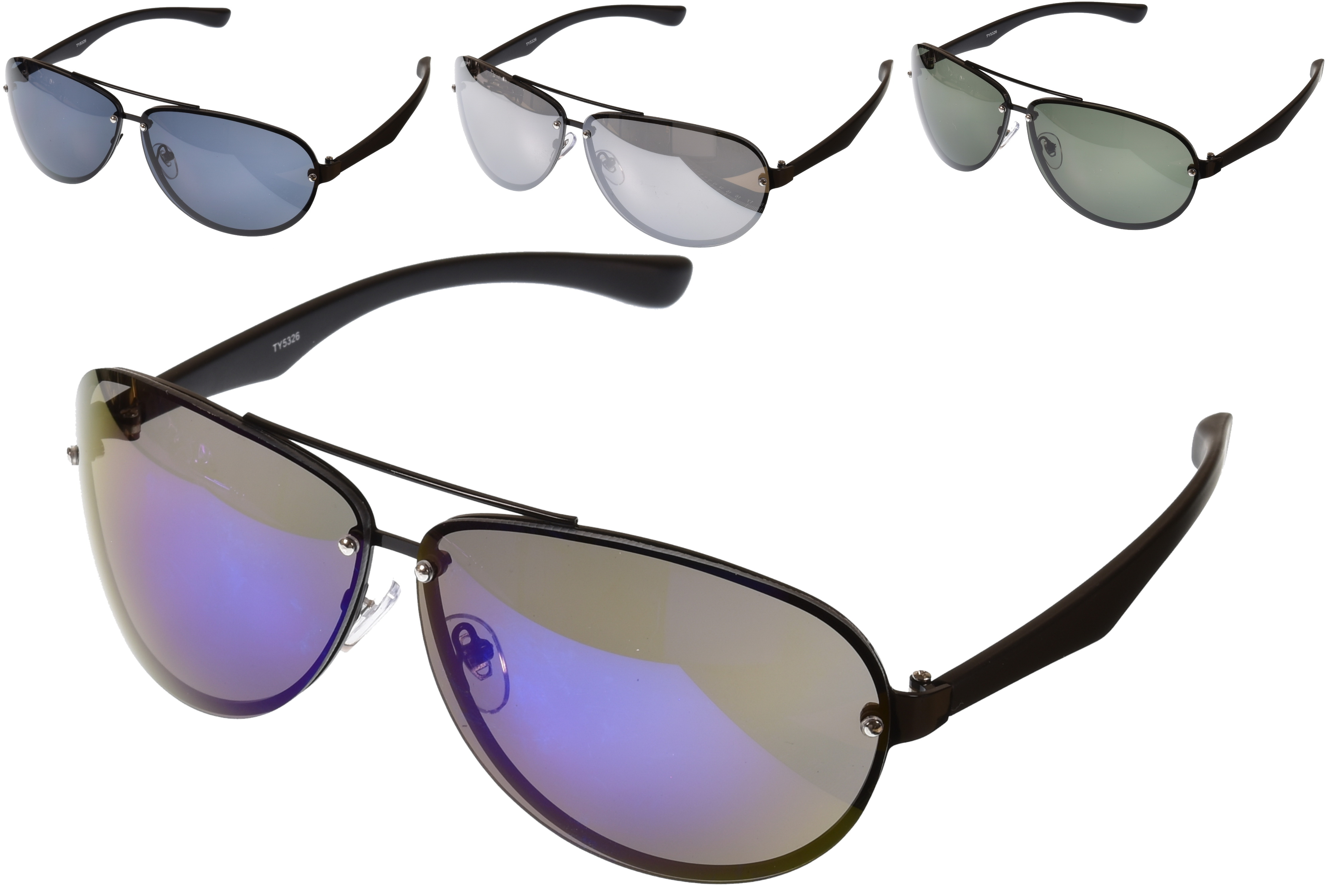 Mens Aviator Sunglasses Matt Black Arms - 4 Asst Lens
