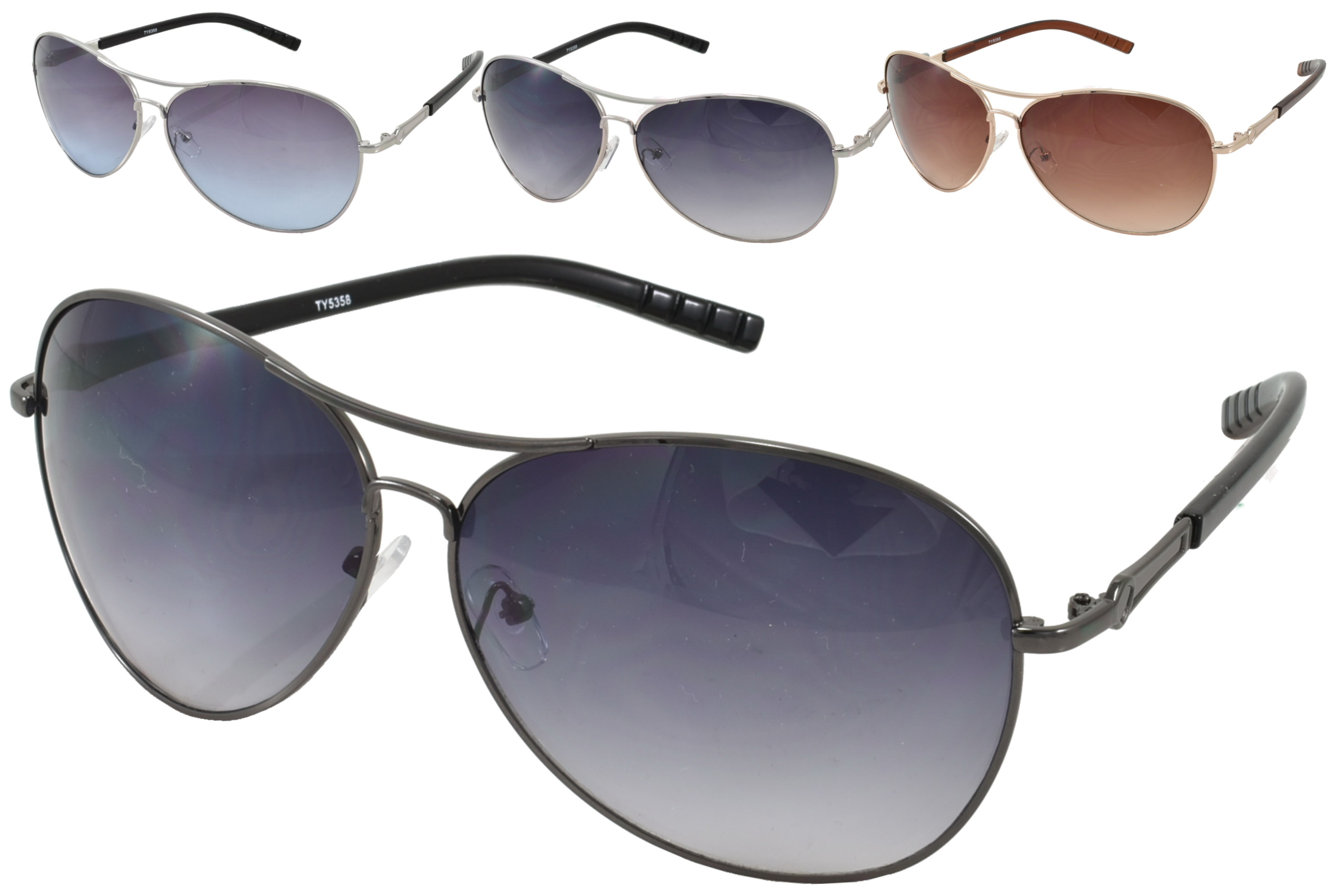 Ladies Large Lens Metal Aviator Sunglasses - 4 Assorted