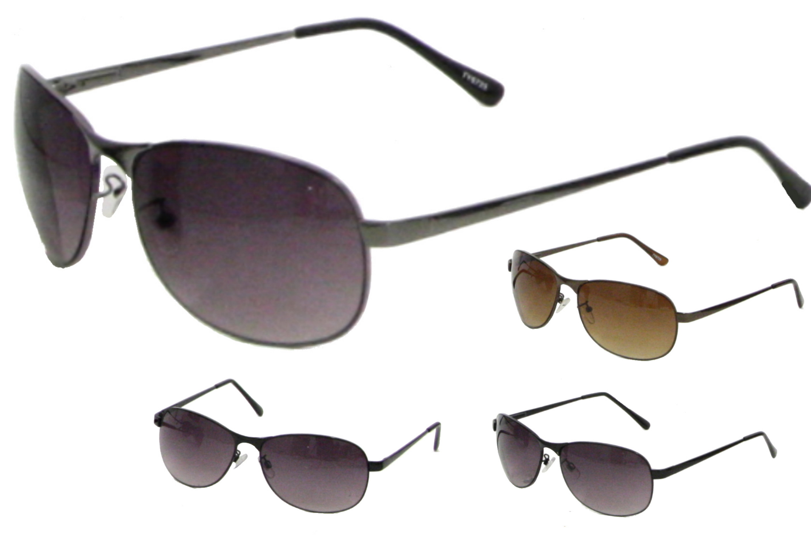Mens Large Lens Metal Frame Sunglasses - 4 Assorted