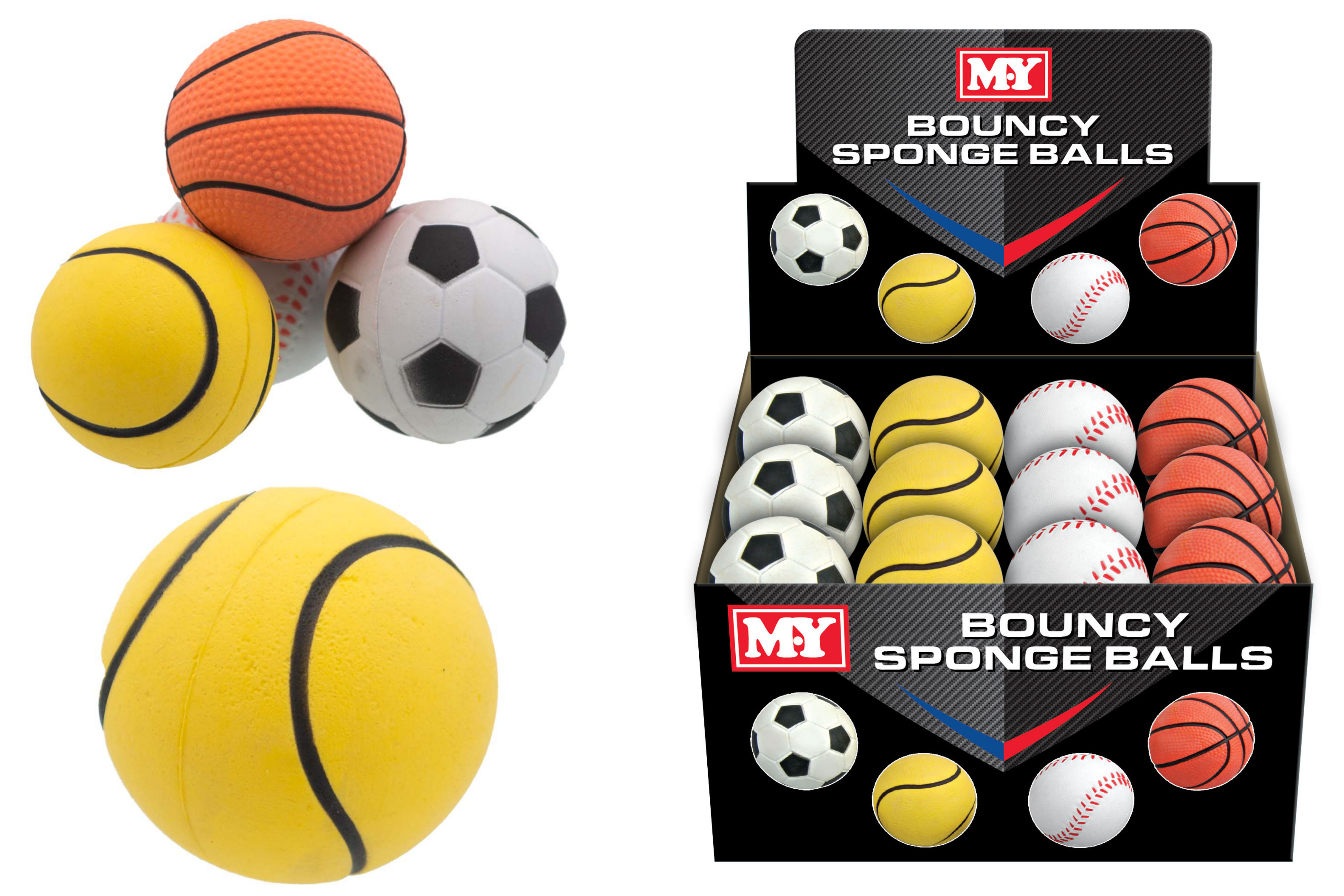 "63mm Bouncy Sponge Balls In Display Box ""Summer Fun"""
