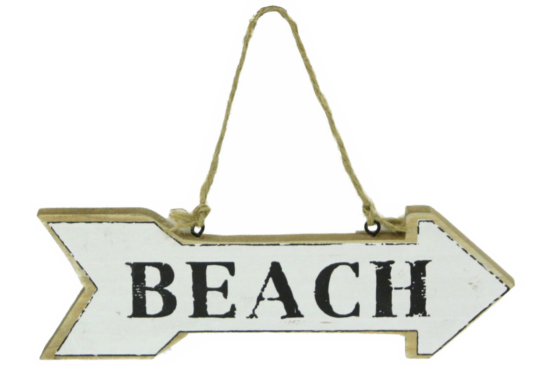 Beach Arrow Hanging Sign 20cm x 6.5cm