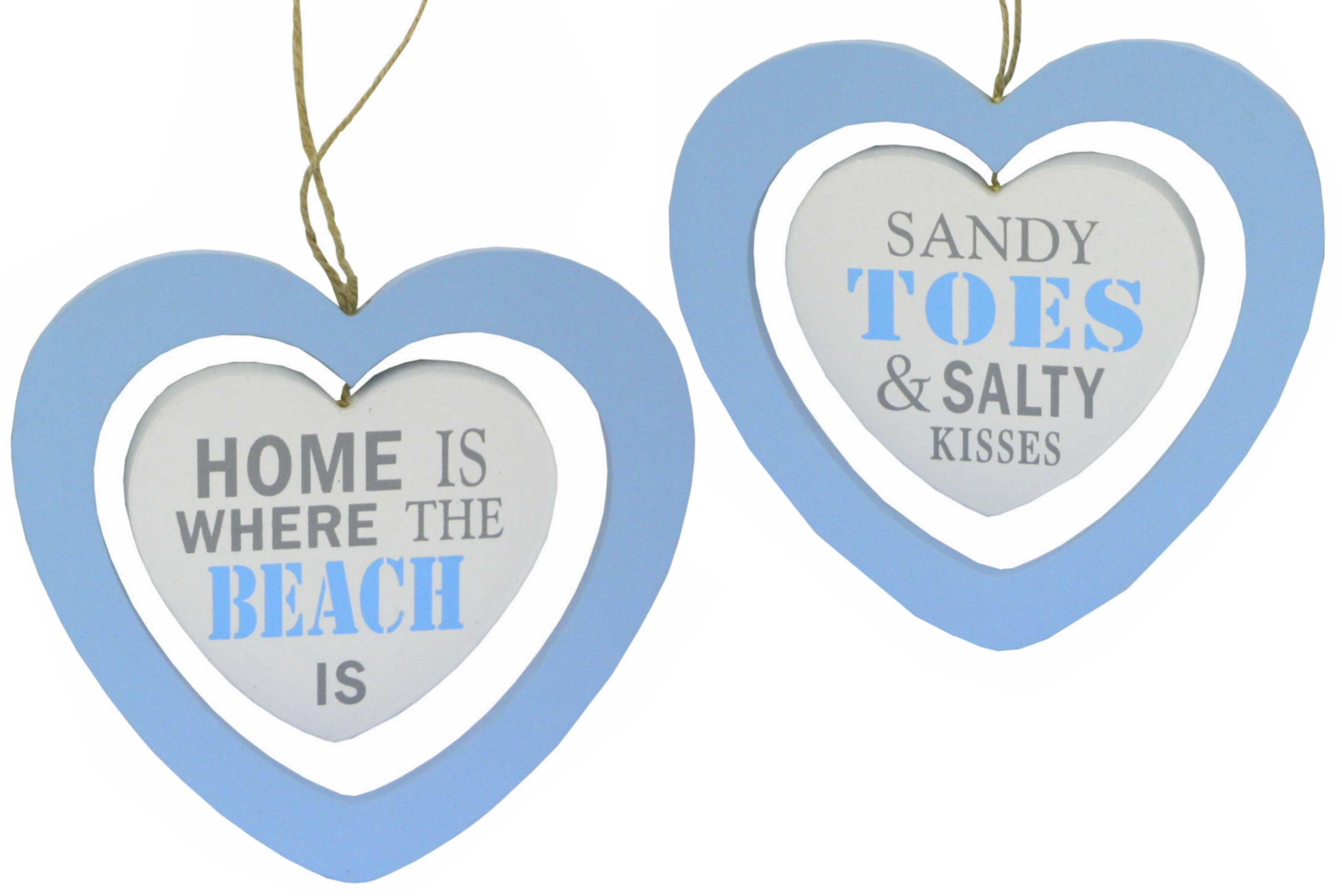 Wooden Heart Hanging Sign 18cm x 17cm - 2 Assorted