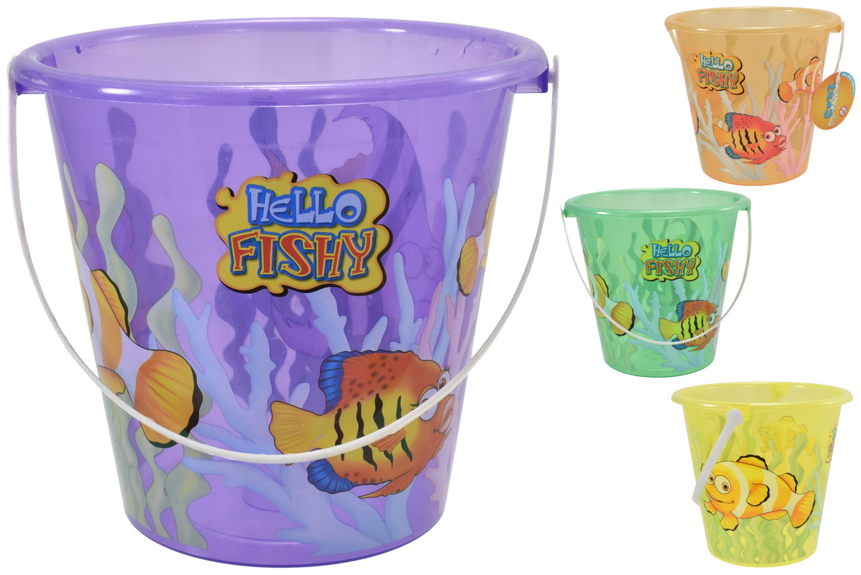 "6.5"" Round Transparent Decorated Bucket ""Hello Fishy"""