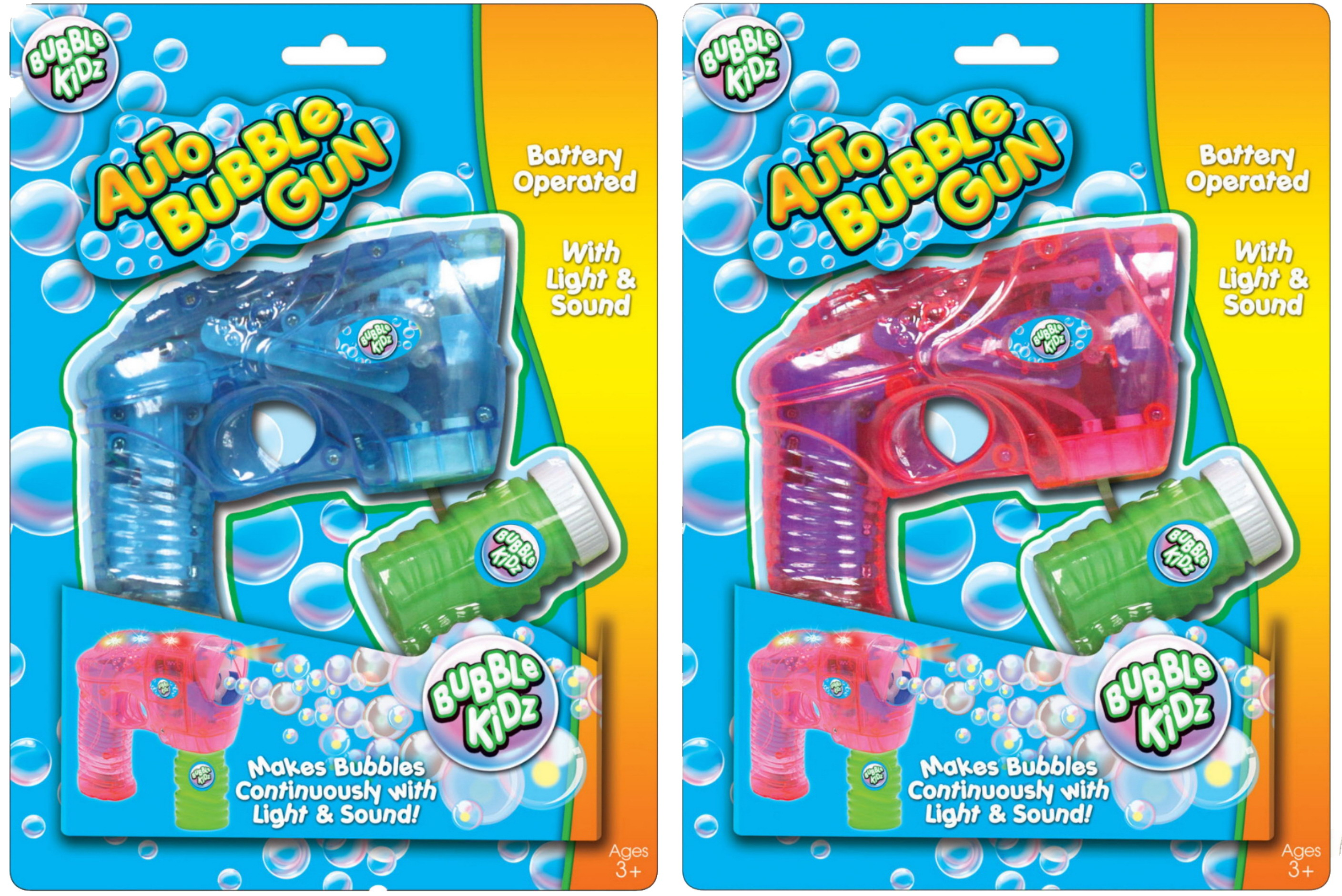 B/O Bubble Gun With Sound & Light - 2 Assorted Colours