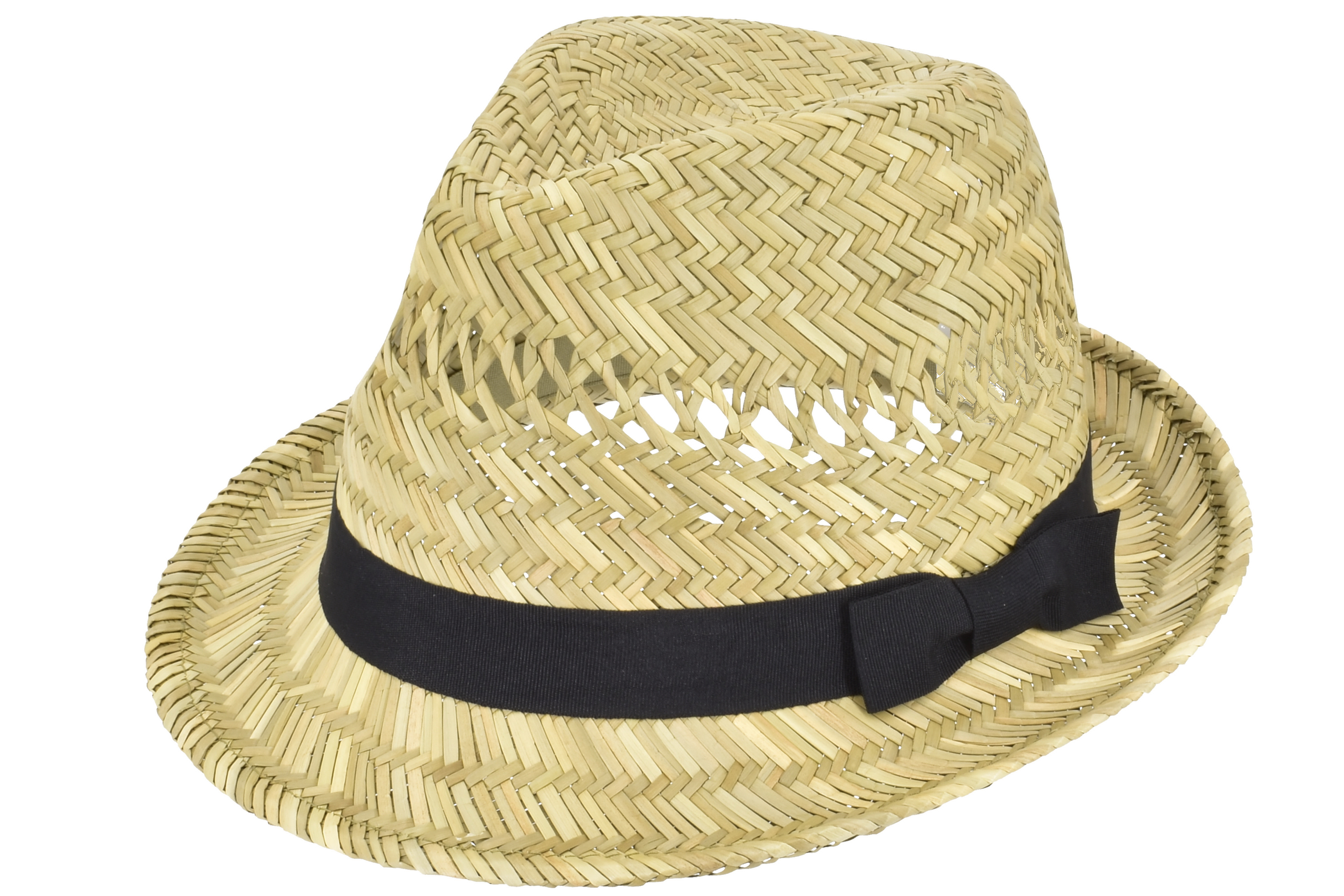 Straw Trilby Hat With Black Band