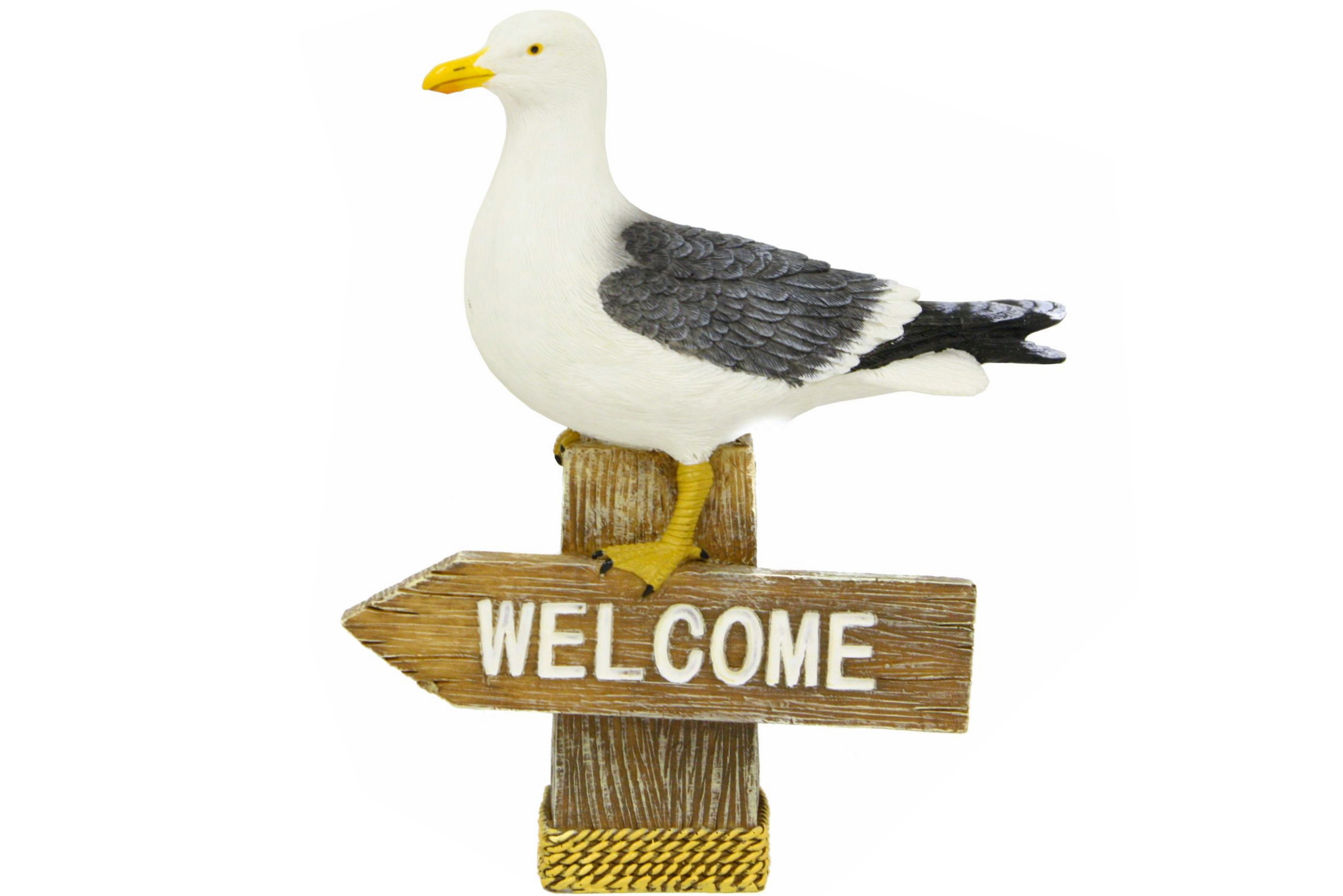 Resin Seagull On Welcome Sign 14cm x 17cm x 4cm