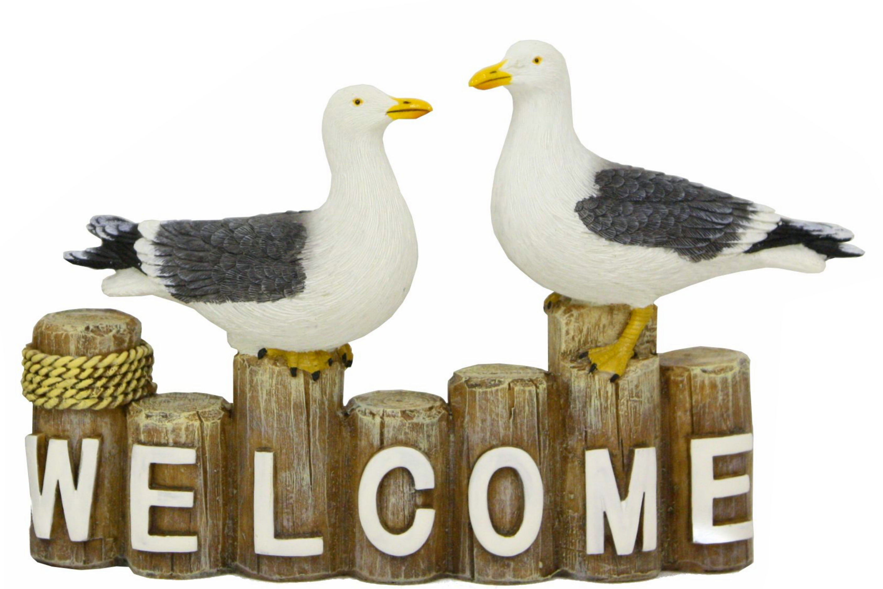 Resin Seagulls On Wooden Groynes - Welcome Sign