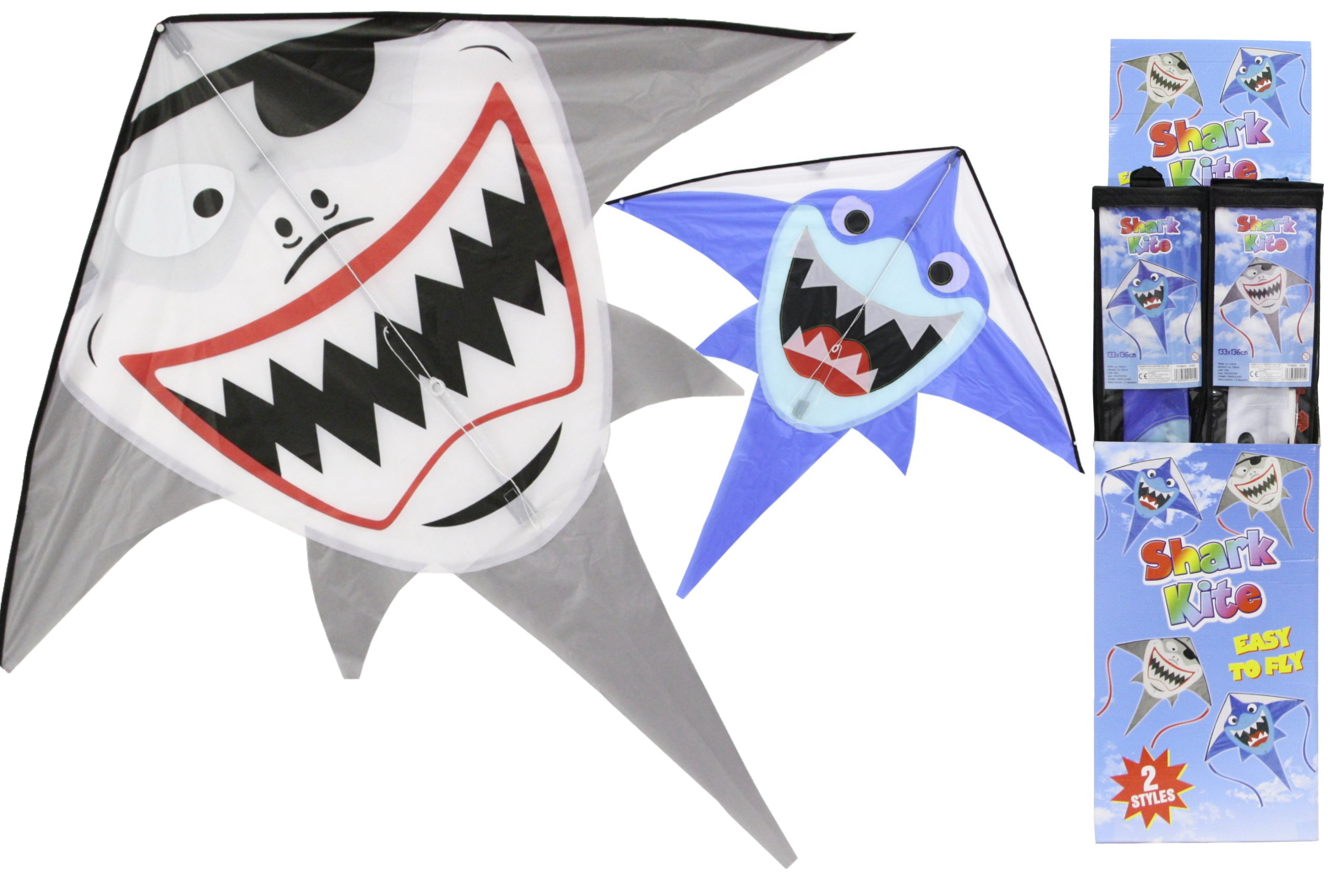 Shark Kite 133cm x 136cm (2 Assorted) In Display Box