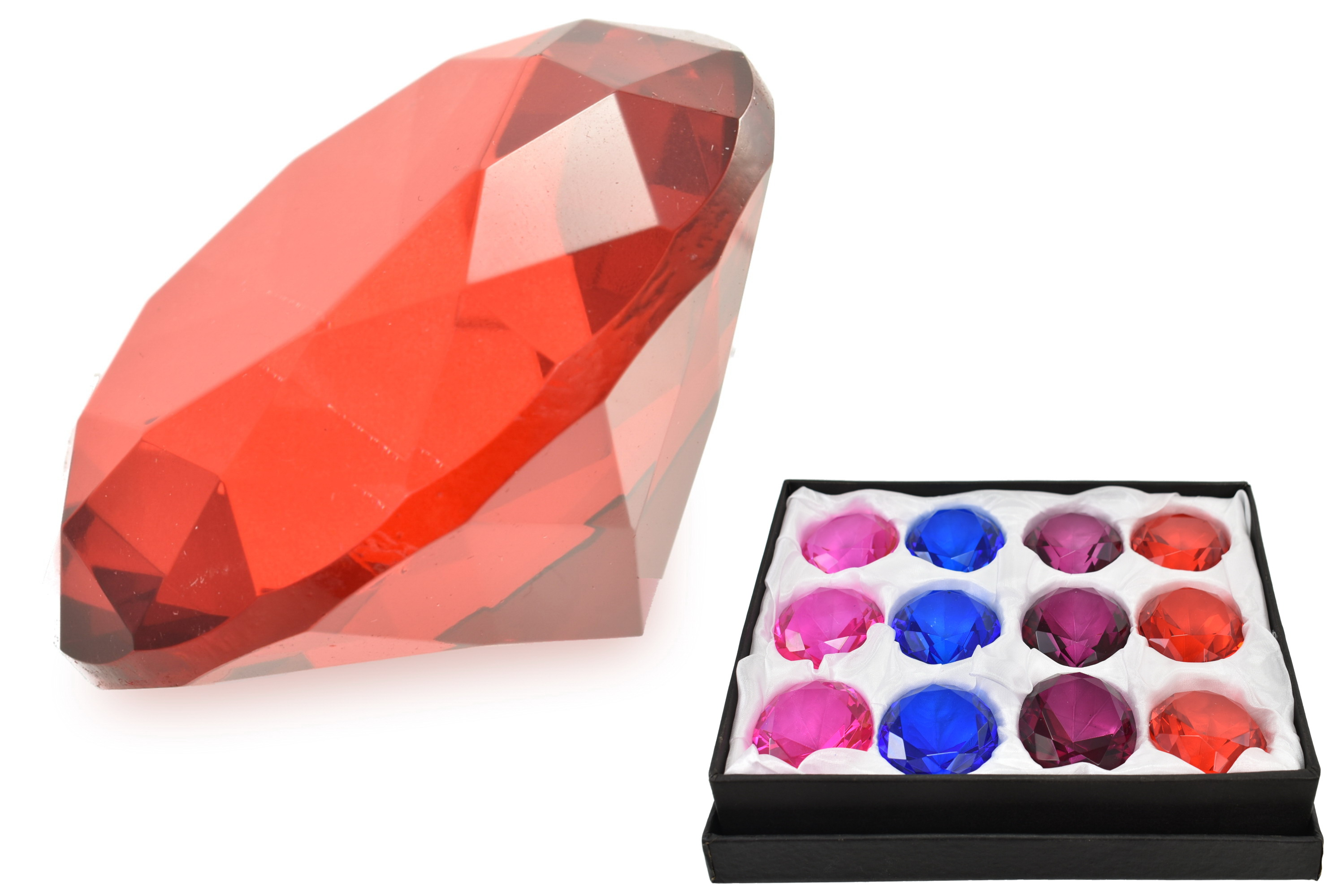5cm Diamond Paperweight 4 Asst Colours (No Barcode)