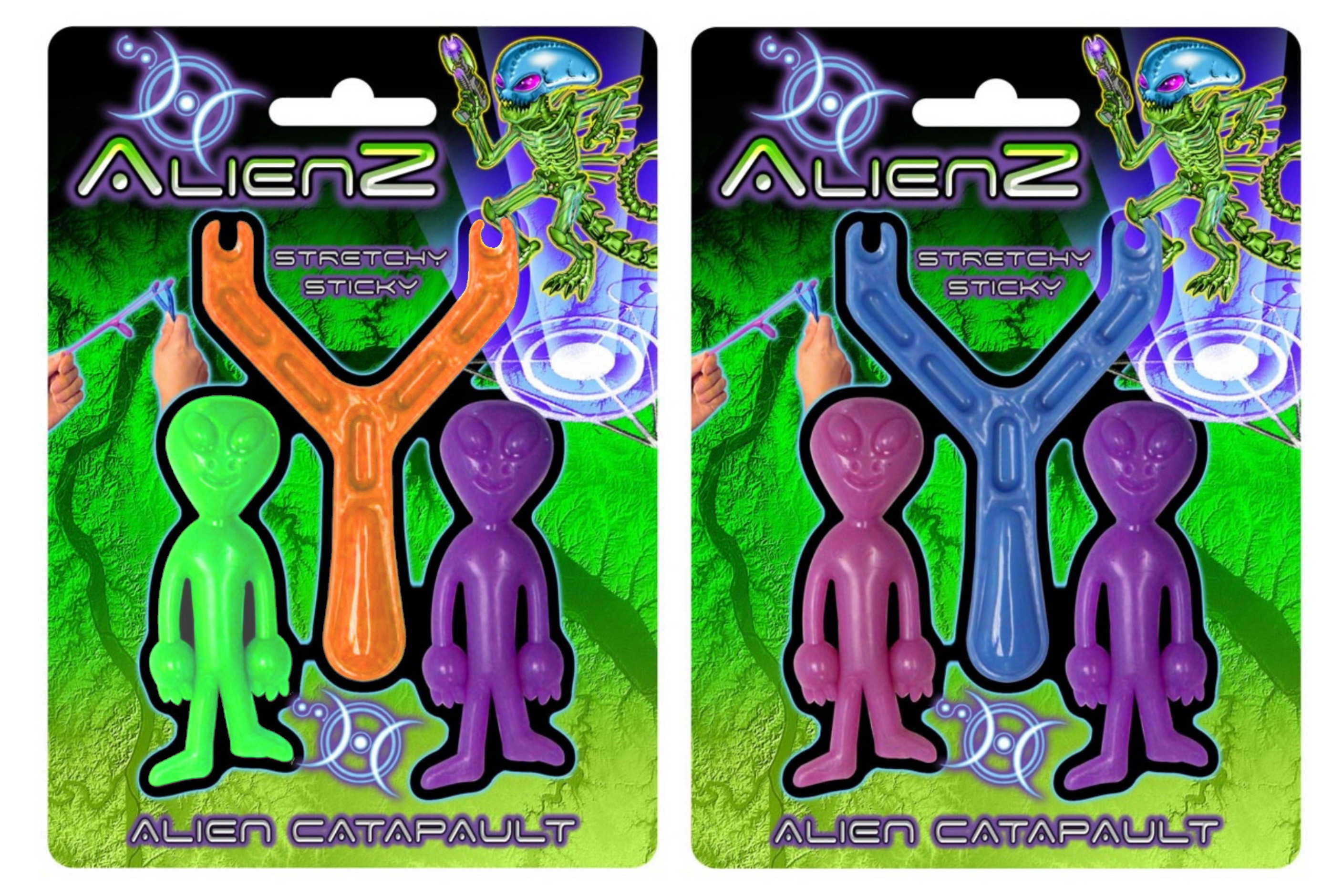 "Stretchy Sticky Alien Catapult (3 Asst Cols) ""Alienz"""