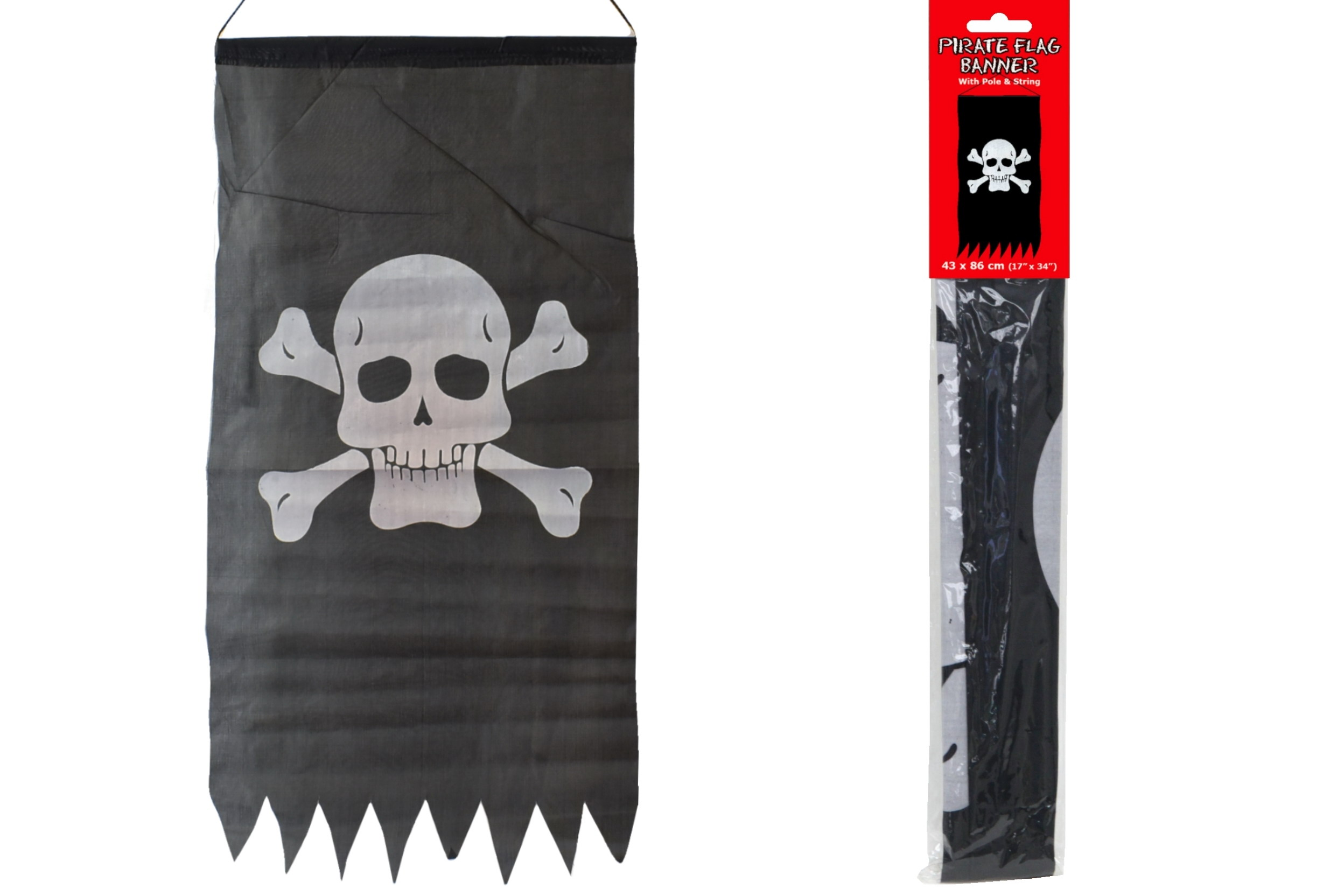 "Pirate Flag Banner 17"" x 34"""