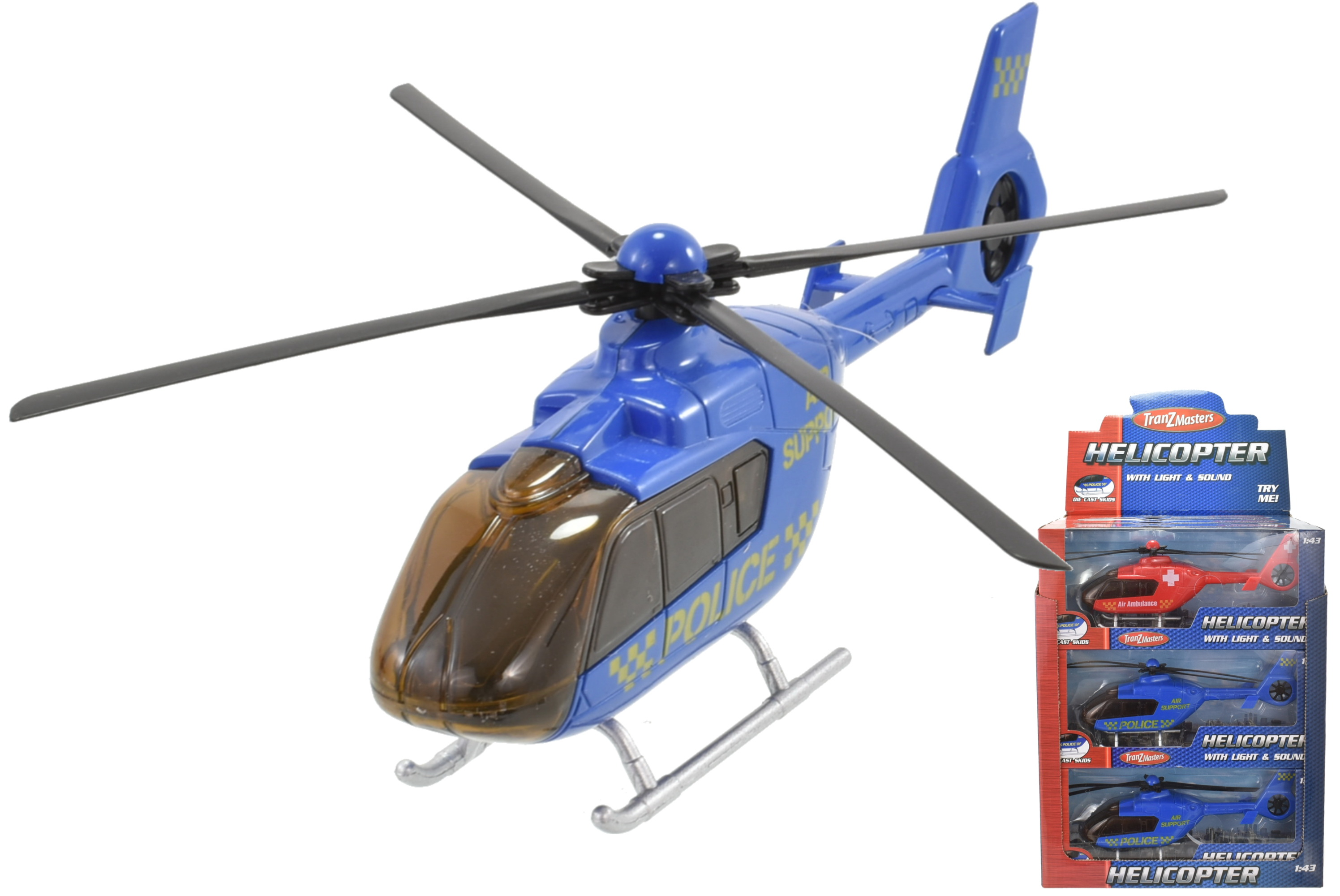 Plastic Helicopter With Light/Sound 2 Asst Tranzmaster