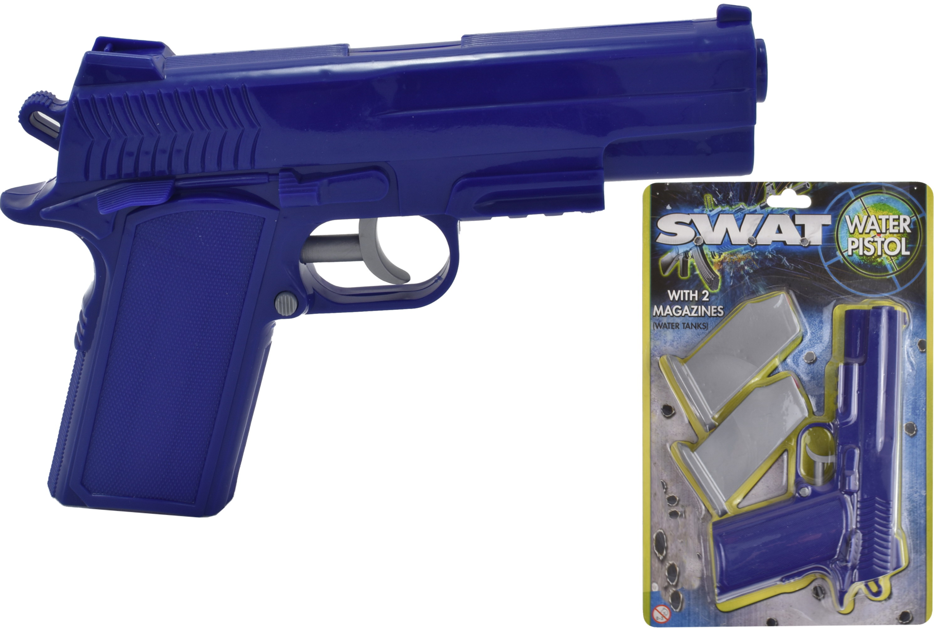 "Waterpistol With 2 Magazines On Blistercard ""Swat"""
