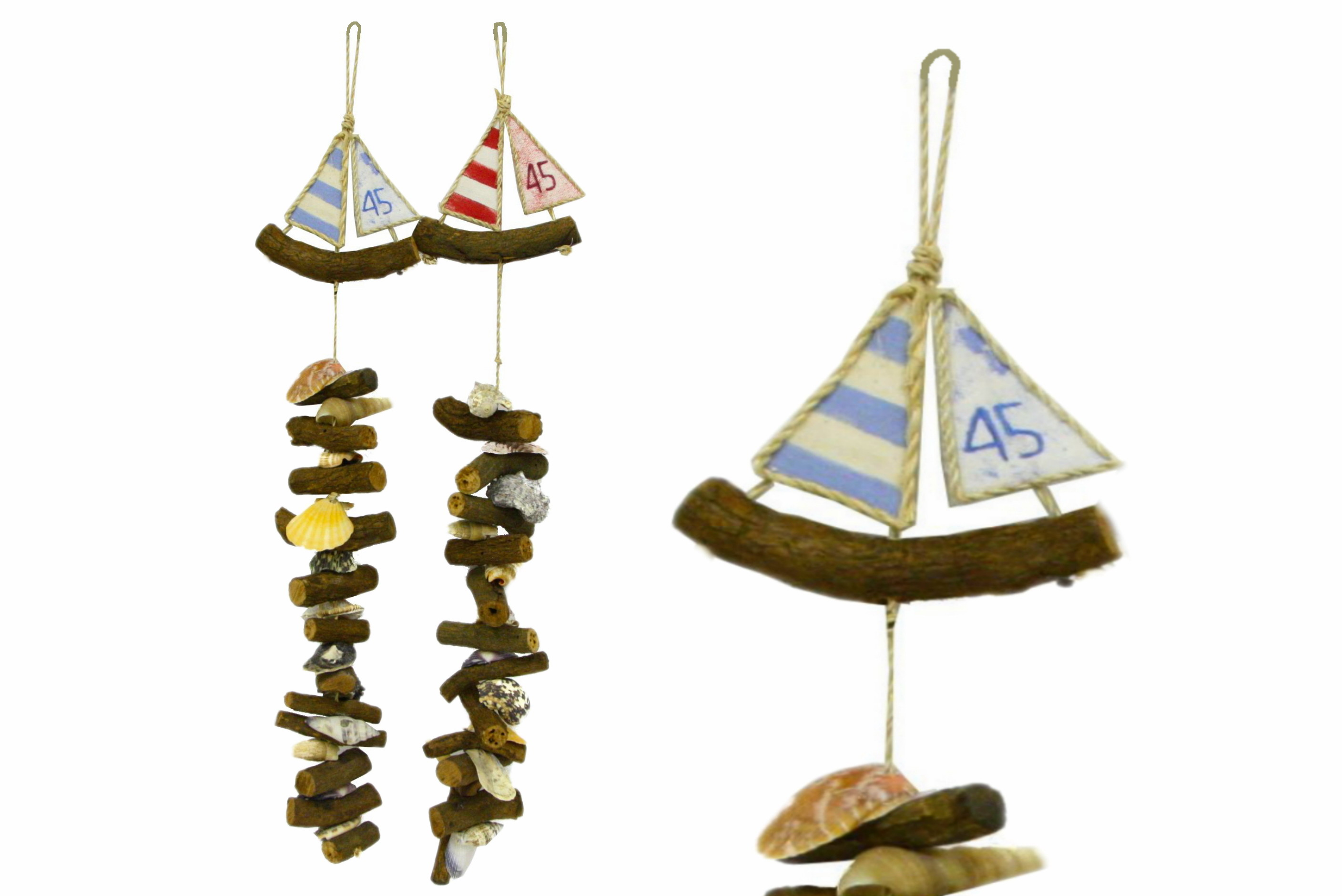 Driftwood & Shell Drop With Driftwood Boat