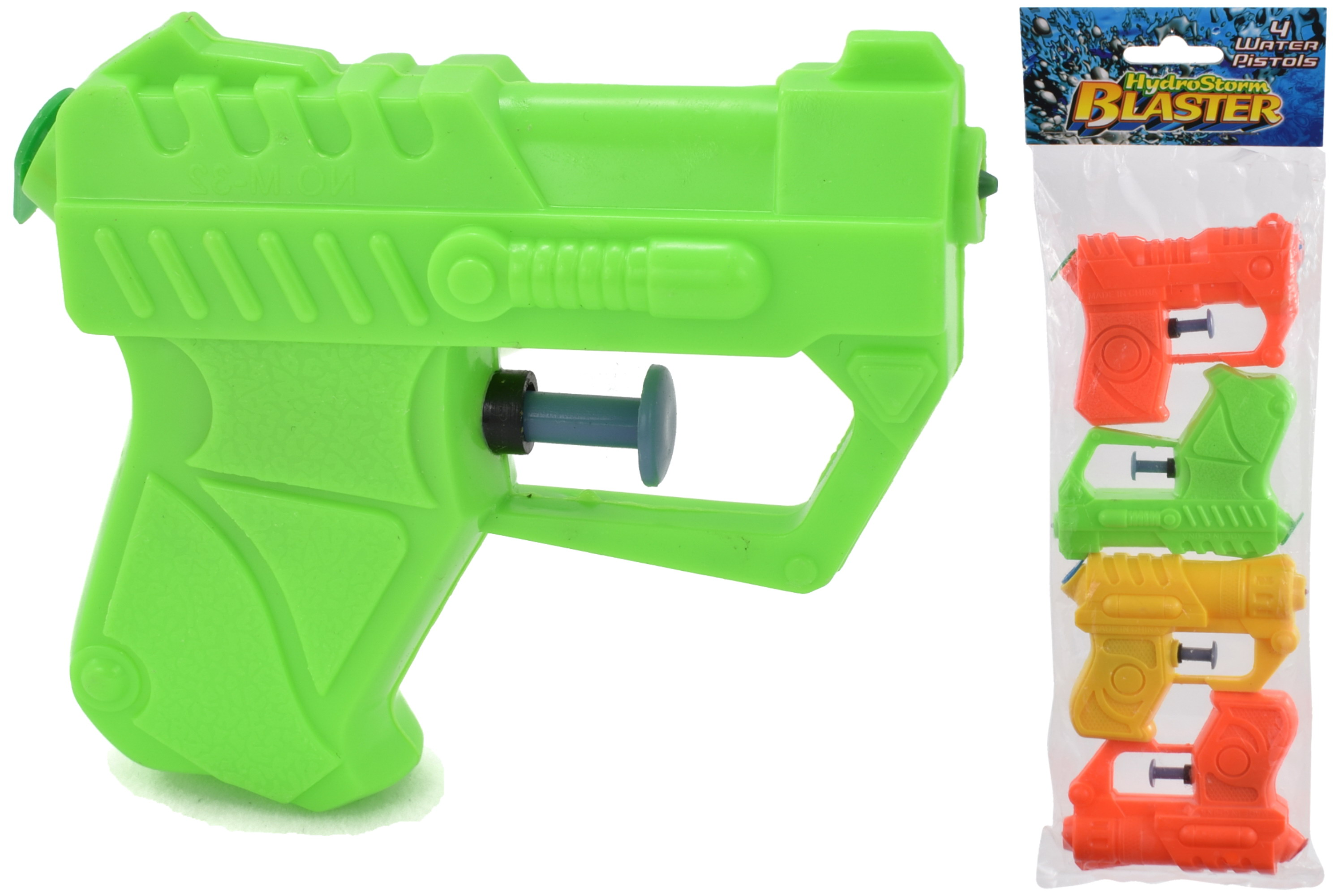 "4pc Small Water Pistols In Bag ""Hydrostorm"" - 3 Asst"