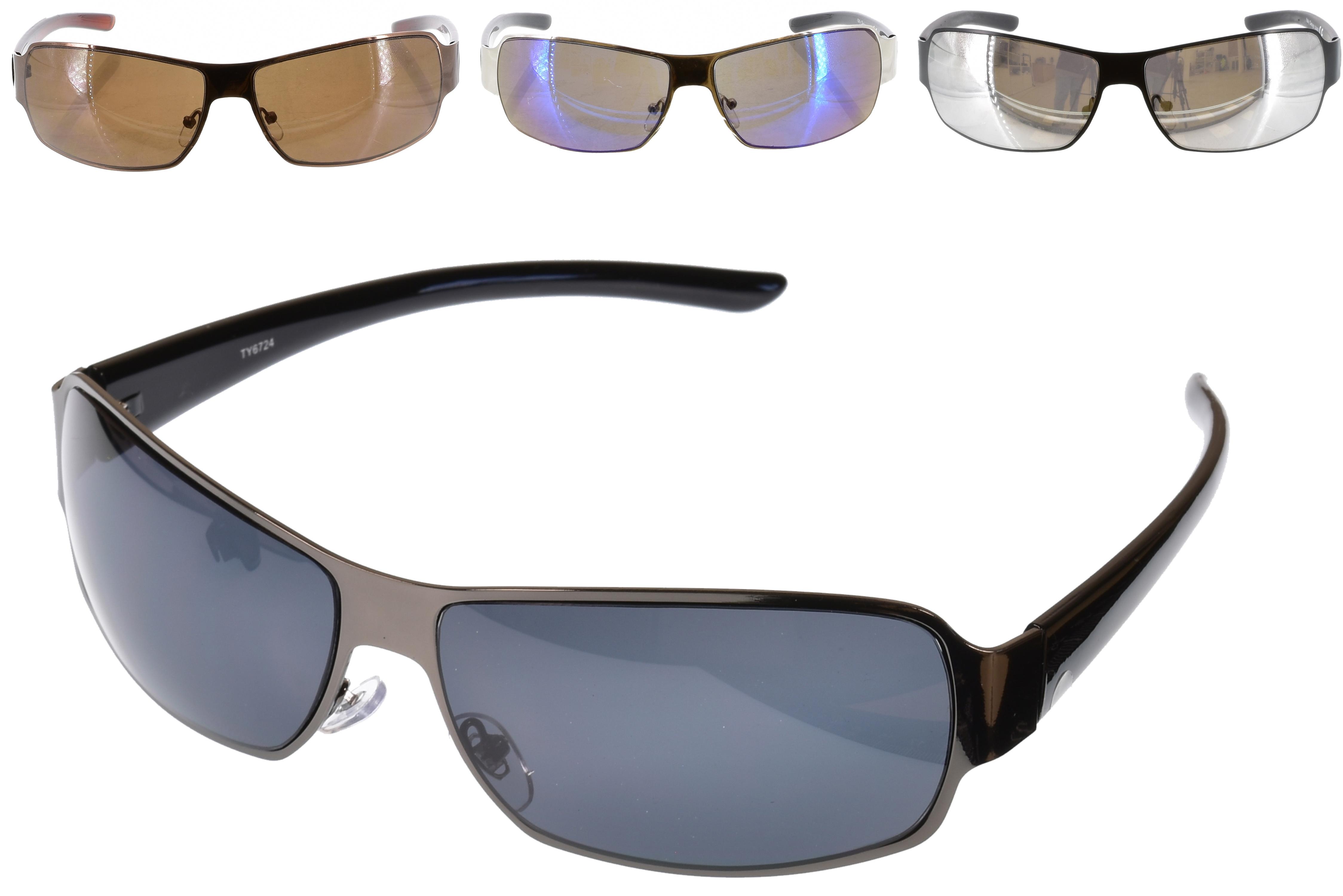 Mens Metal Frame Plastic Arm Sunglasses - 4 Assorted