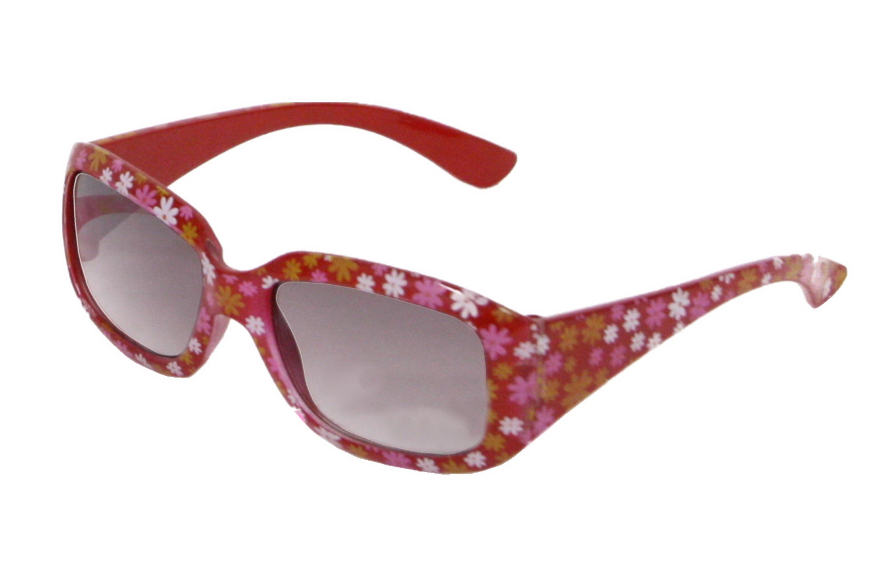 Girls Plastic Red Flower Pattern Print Sunglasses