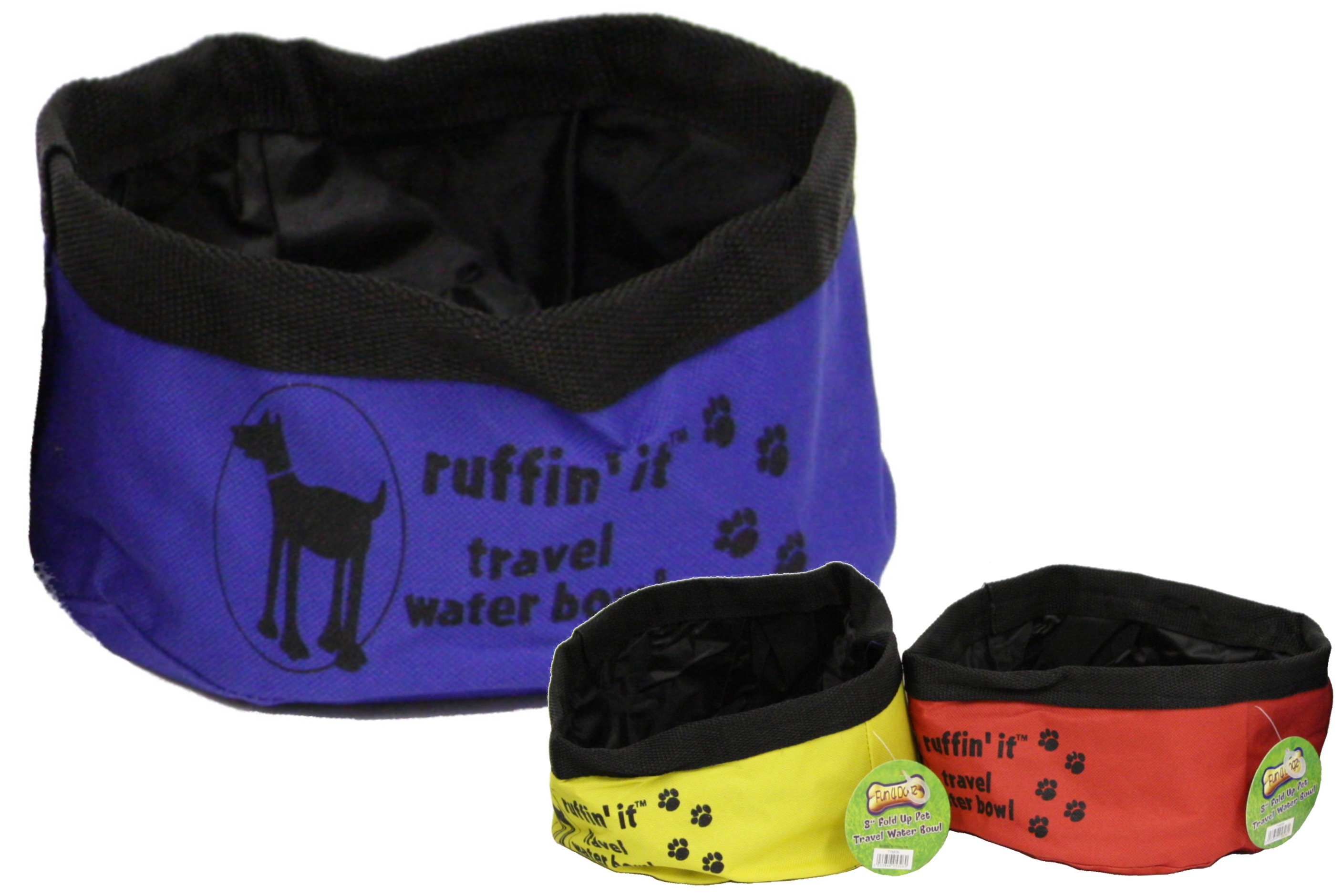 "8"" Fold Up Pet Travel Water Bowl (3 Assorted Colours)"
