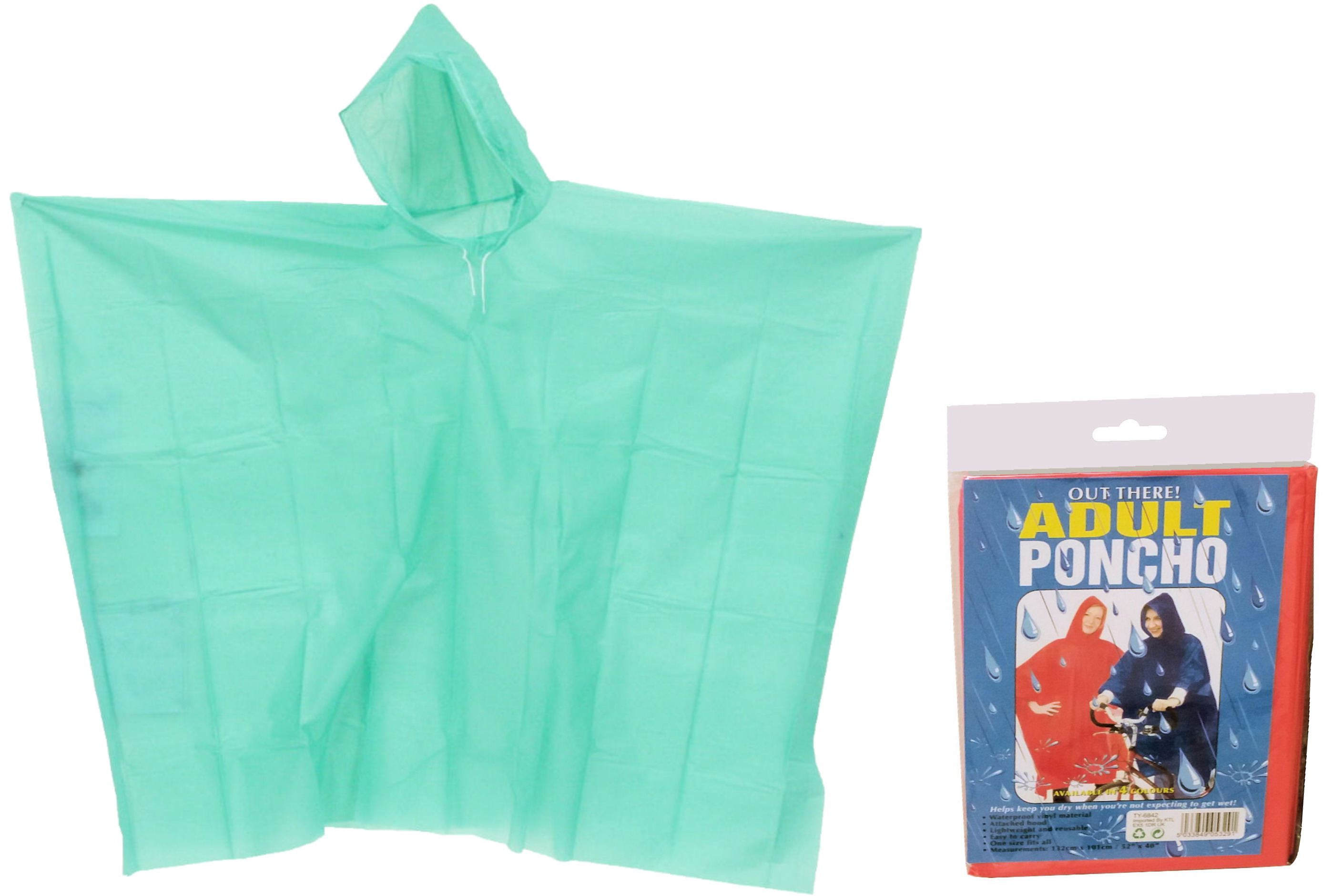 Adult Poncho (4 Asst Colours) In Pvc Bag/Colour Insert