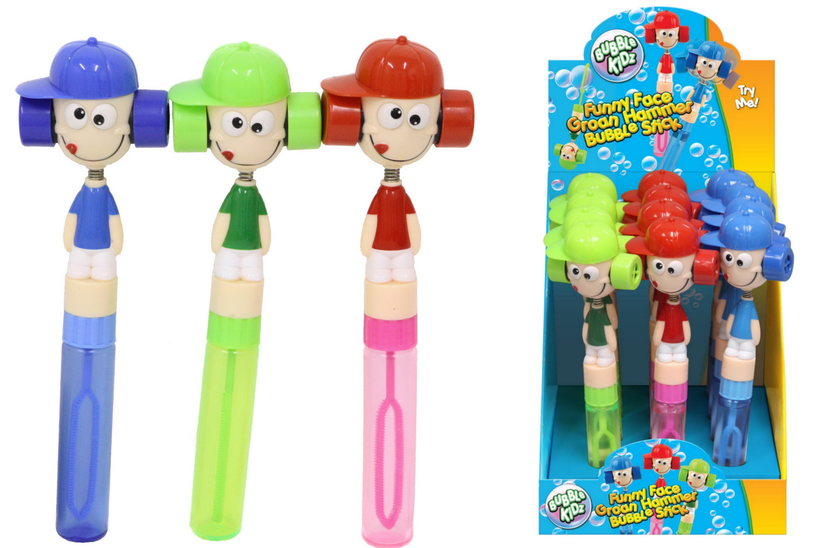 Funny Face Groan Hammer Bubble Stick In Pdq 3 Asst Cols